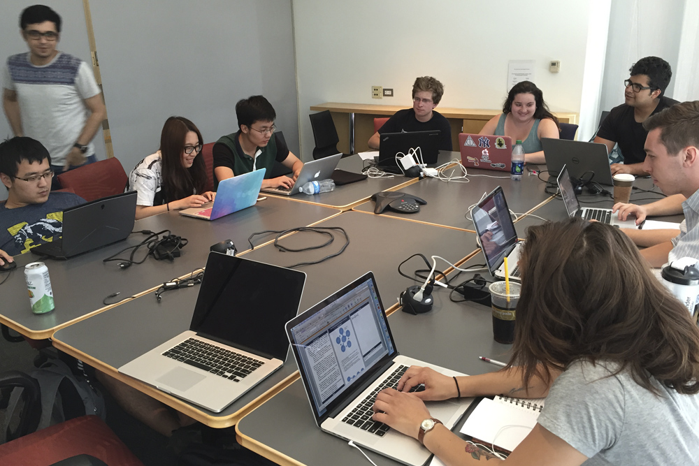 Students working in the Data Mining group at the bootcamp