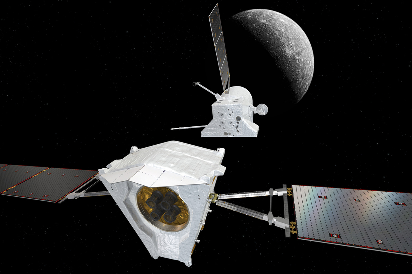 The Mercury Transfer Module separates from the BepiColombo Mercury Planetary Orbiter (MPO) and Mercury Magnetospheric Orbiter (MMO) composite spacecraft.