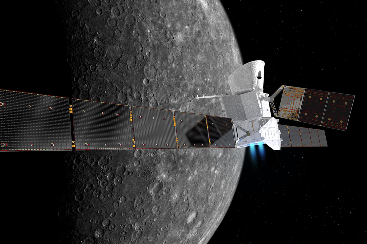 The BepiColombo spacecraft in cruise configuration as it orbits Mercury. Credit: European Space Agency