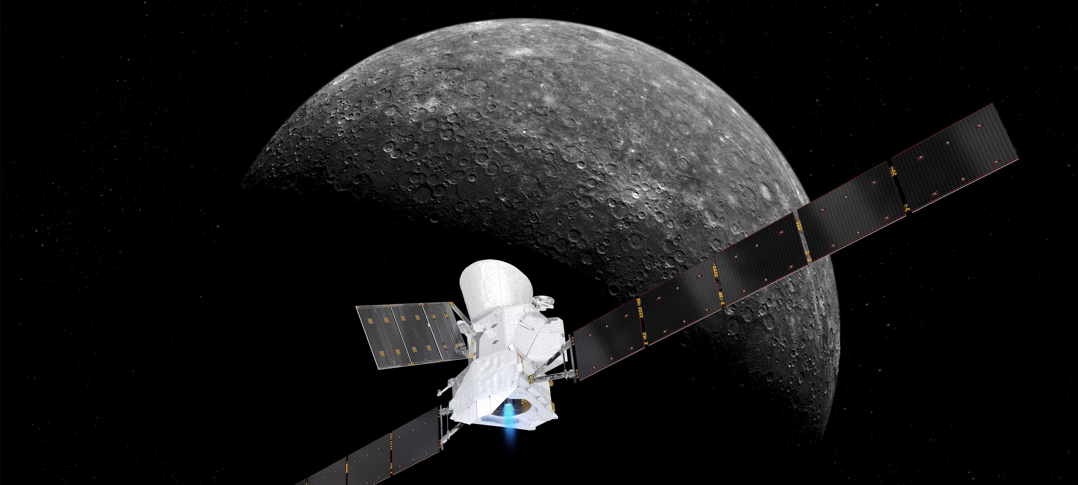 BepiColombo approaching Mercury. Credit: European Space Agency