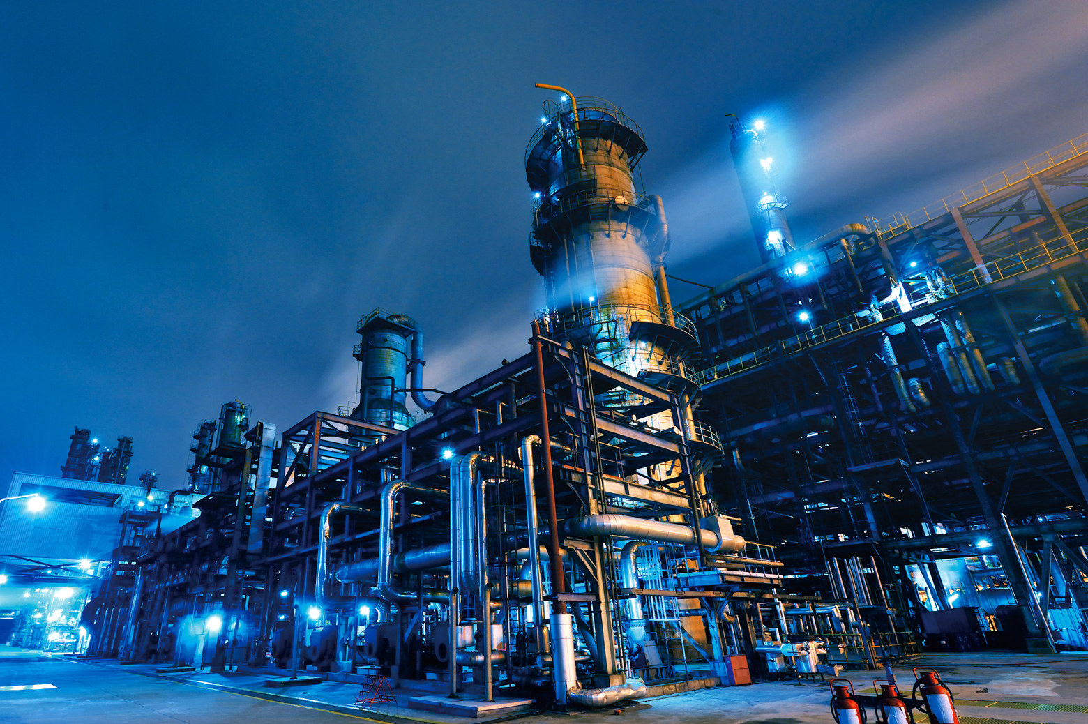 An oil refinery at night.
