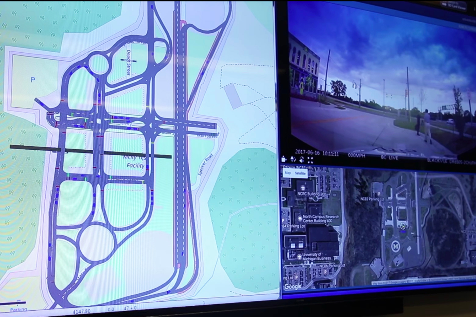 Virtual connected vehicles (blue) can be seen traveling at Mcity alongside real connected and automated vehicles (red). This unique type of augmented reality can dramatically accelerate testing of connected and automated vehicles and enable researchers to test scenarios in a safer, more cost-effective manner. Credit: Screen capture from a video by Mike Wood