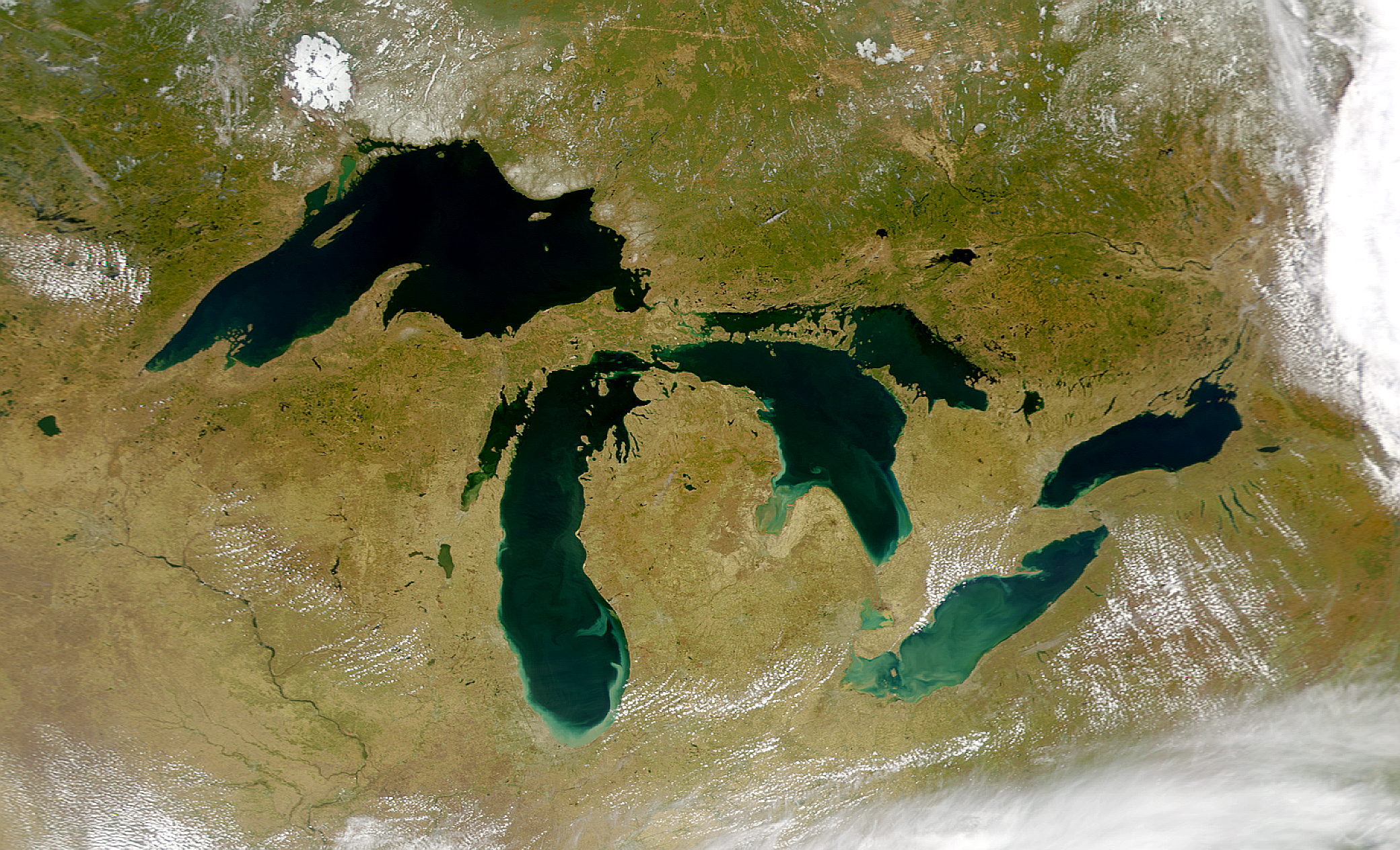 NASA photo of Great Lakes region