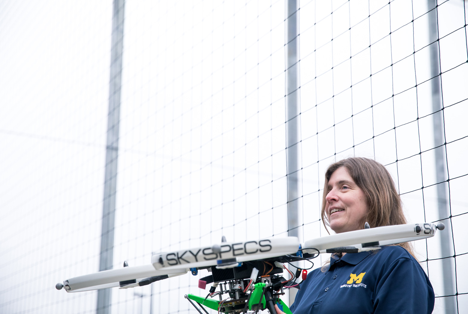 Atkins shows off one of her quadcopters to reporters at the M-Air media day on March 28, 2018.