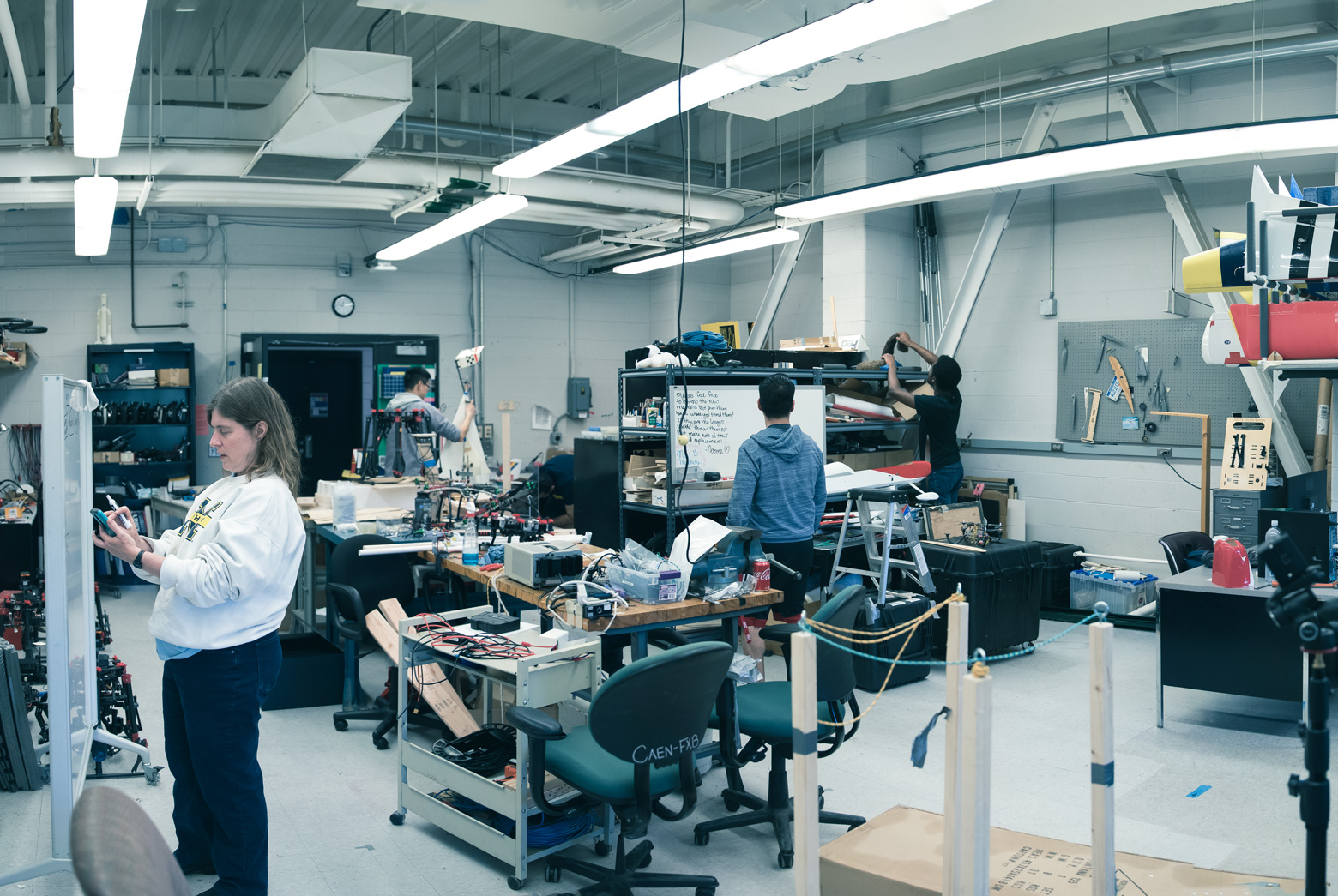 Atkins and her students work in the Autonomous Aerospace Systems Laboratory. They develop software to enable safe, autonomous flight in conventional fixed-wing aircraft as well as newer multicopters.