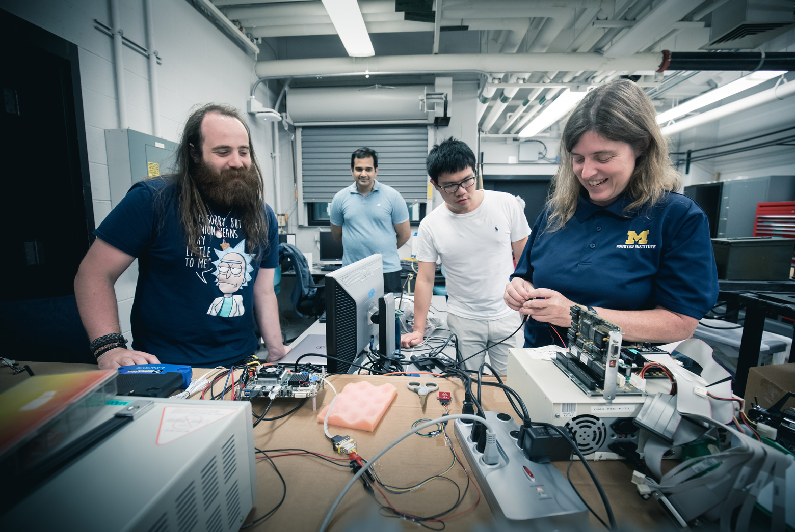 Atkins works with researchers in the lab of Carlos Cesnik, a professor of aerospace engineering. They are installing software for Cesnik's X-HALE (Experimental High Altitude Long Endurance) unmanned aerial vehicle.