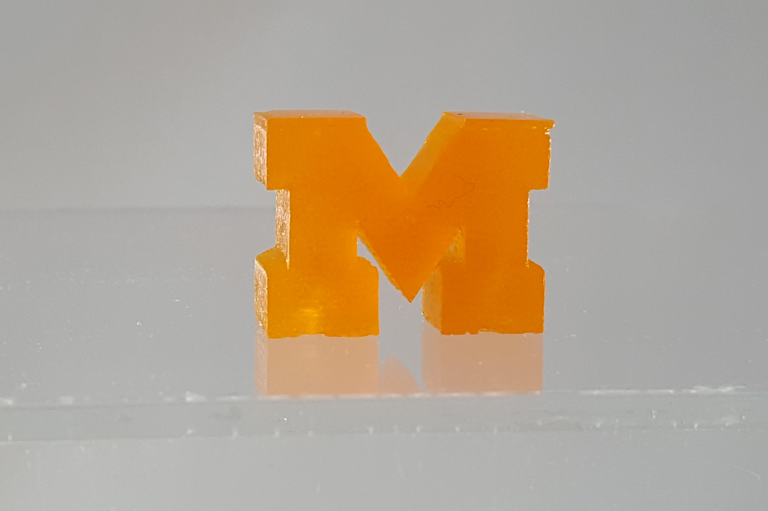 A 3D printed block M made from resin