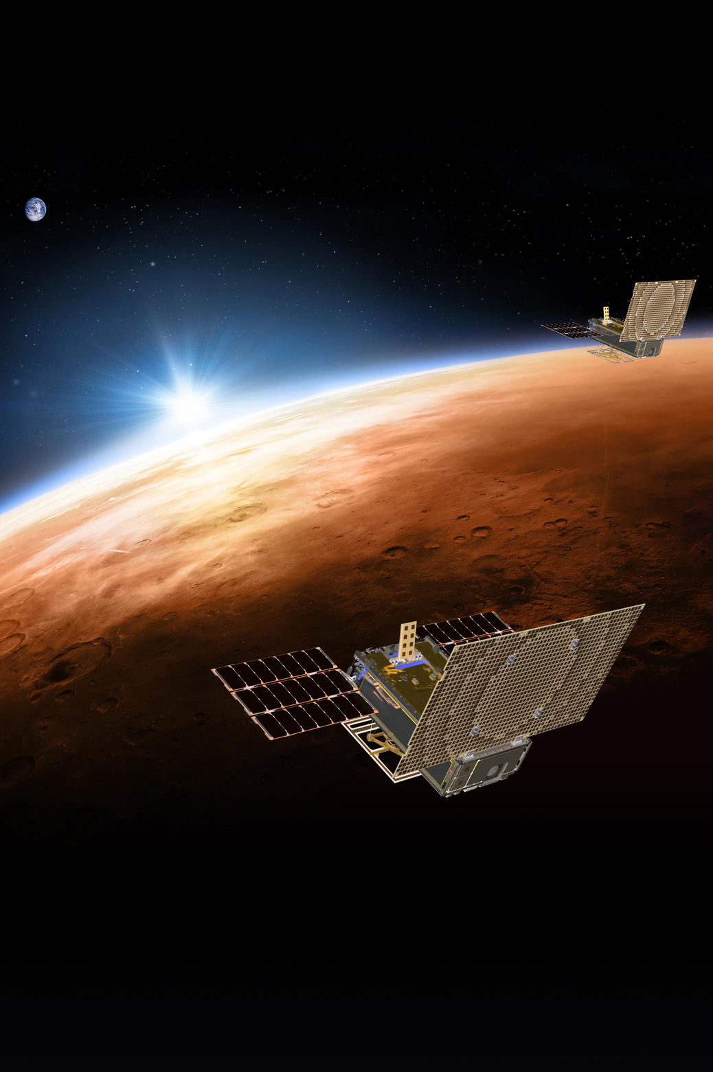 An artist's rendering of the twin Mars Cube One (MarCO) spacecraft as they fly through deep space. Photo: NASA