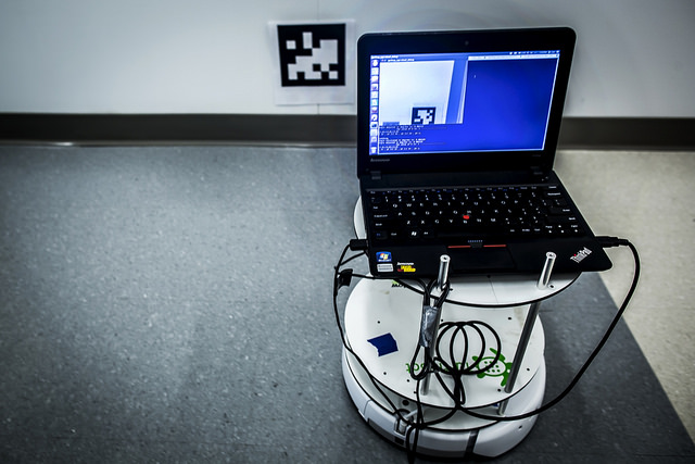 The robot is able to operate in older buildings and different environments to collect data about conditions of the environment that need repair, demolition, or replacement. Photo: Joseph Xu