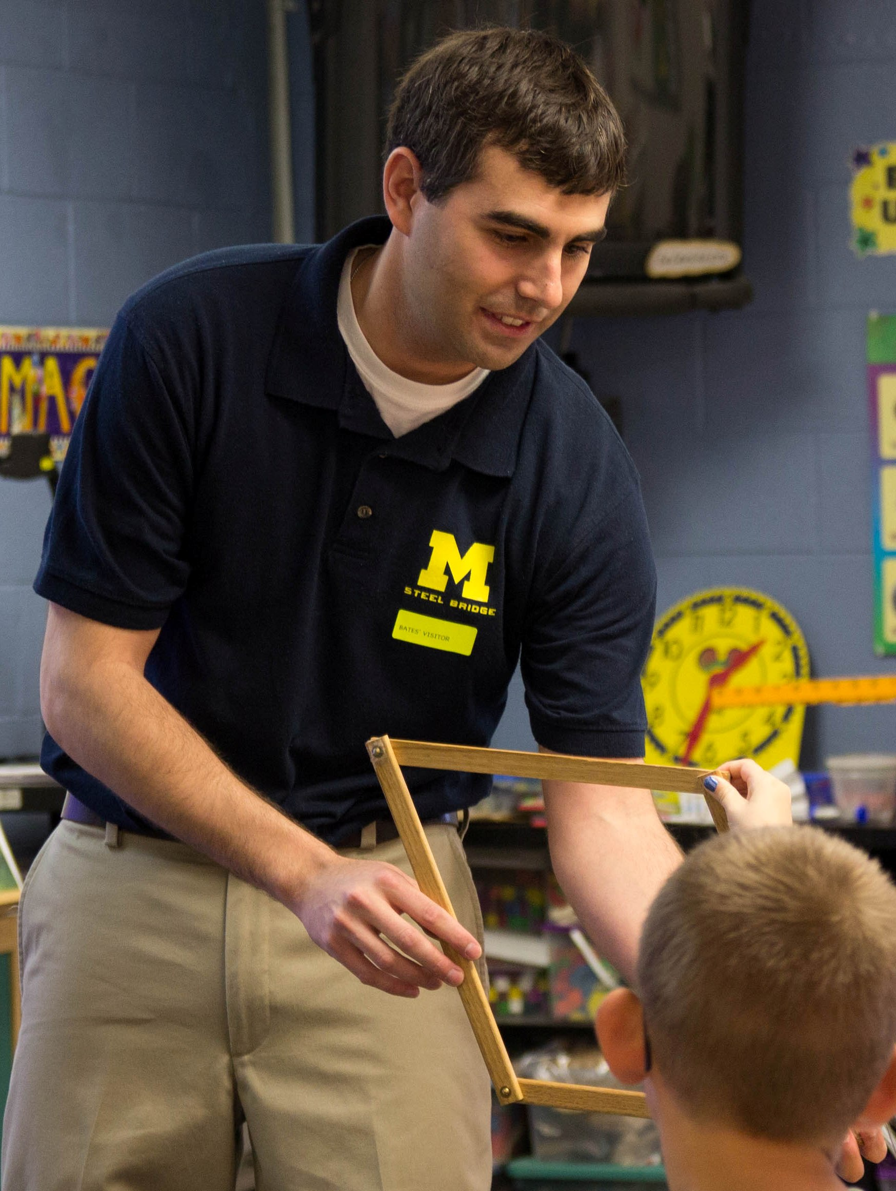 CEE Associate Professor Jason McCormick visits local elementary to teach students about building bridges.