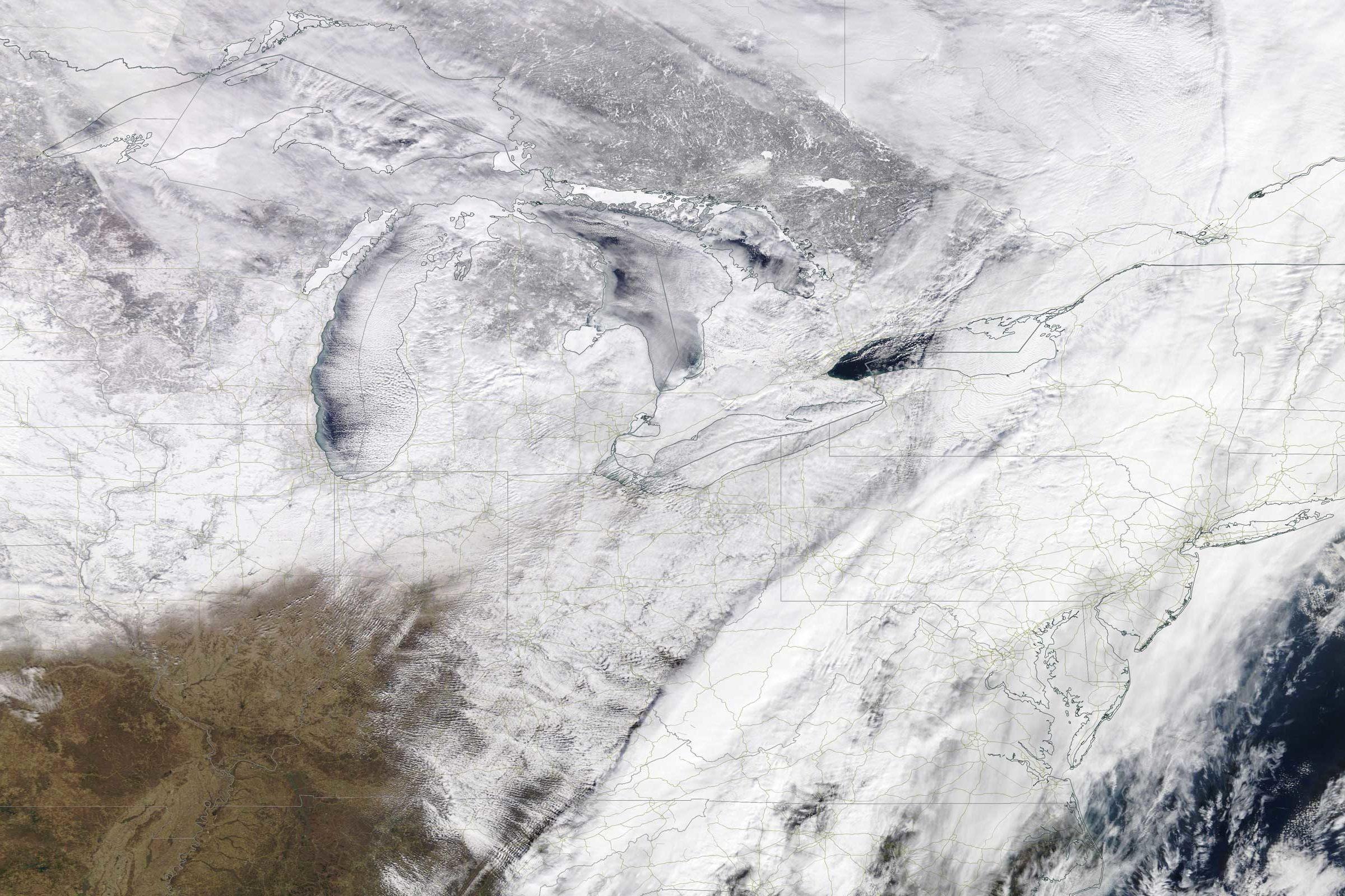 Weather moving across the United States on January 29, 2019. Photo: Nasa