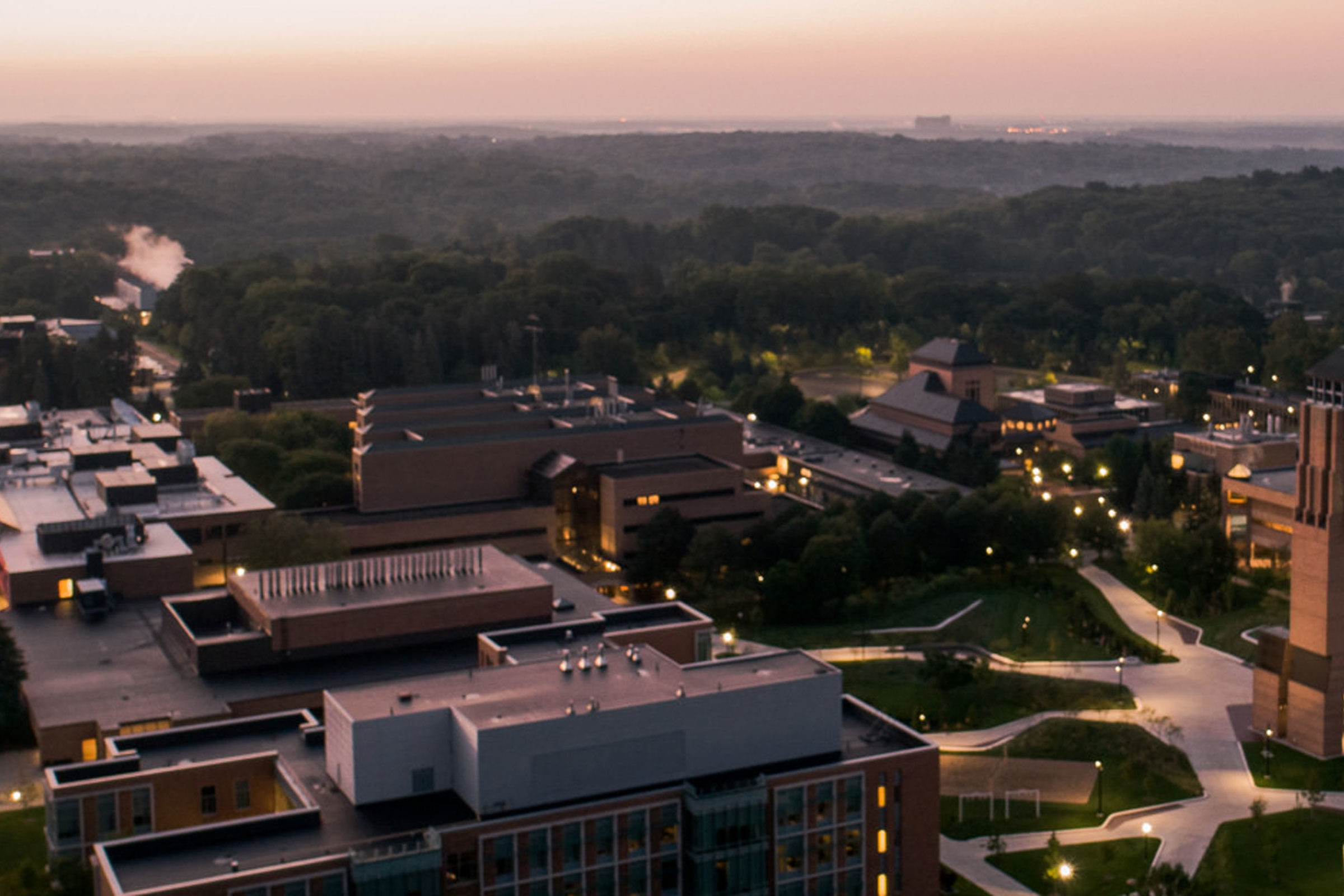 The morning sun rises on the Grove at North Campus of the Universities of Michigan