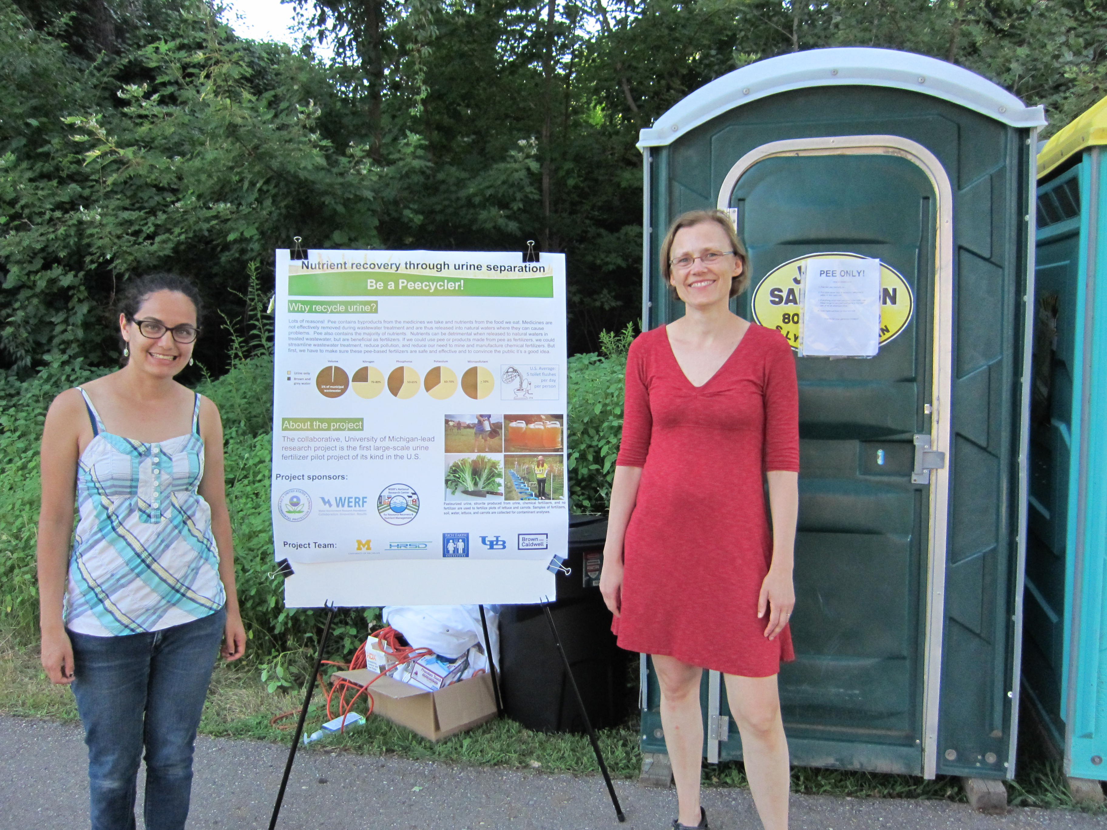 Doctoral Student Jeseth Delgado Vela and Professor Lutgarde Raskin collected urine on Saturday, August 1.