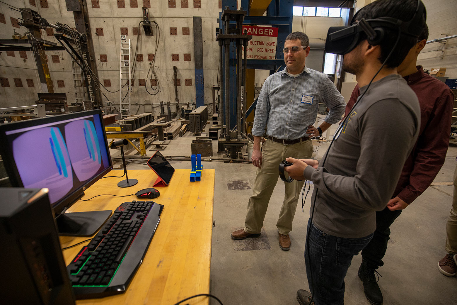 Professor Jason McCormick helps students in virtual lab