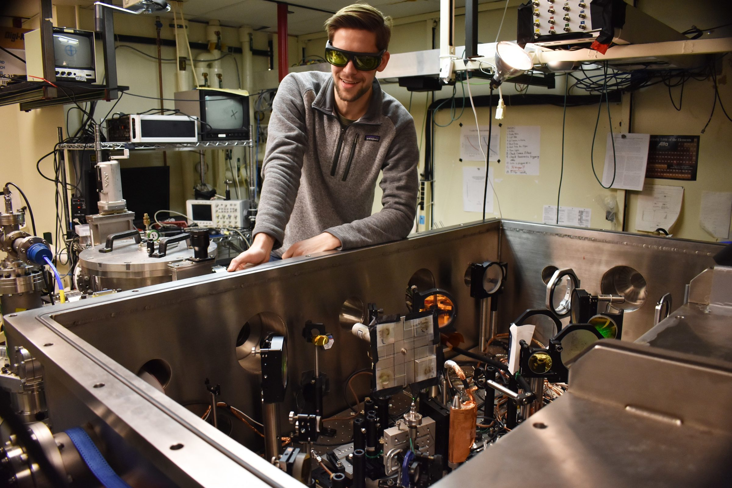 ECE student Brandon Russell explores space phenomena in a lab