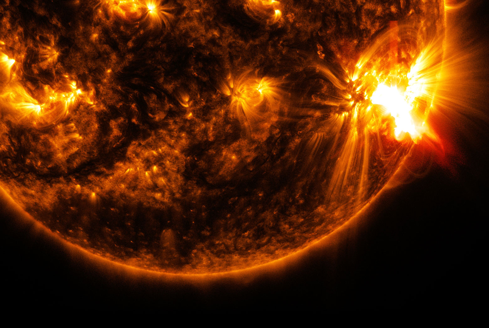 NASA's Solar Dynamics Observatory captured this image of an X2.0-class solar flare