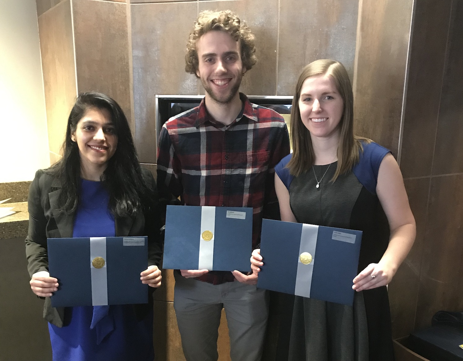 Leaders and Honors Award recipients, Garima Malhotra (l); Kyle Webster (c); Karlie Wells (r)