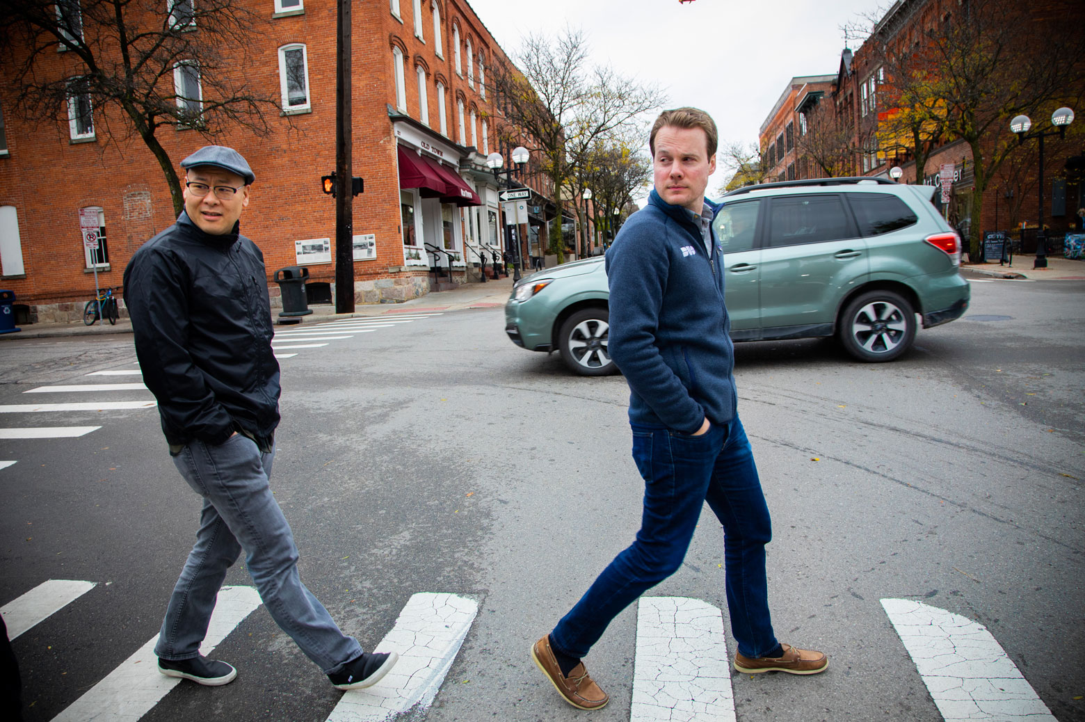 Duo Security co-founders Dug Song and Jon Oberheide crossing Liberty Street in Ann Arbor.