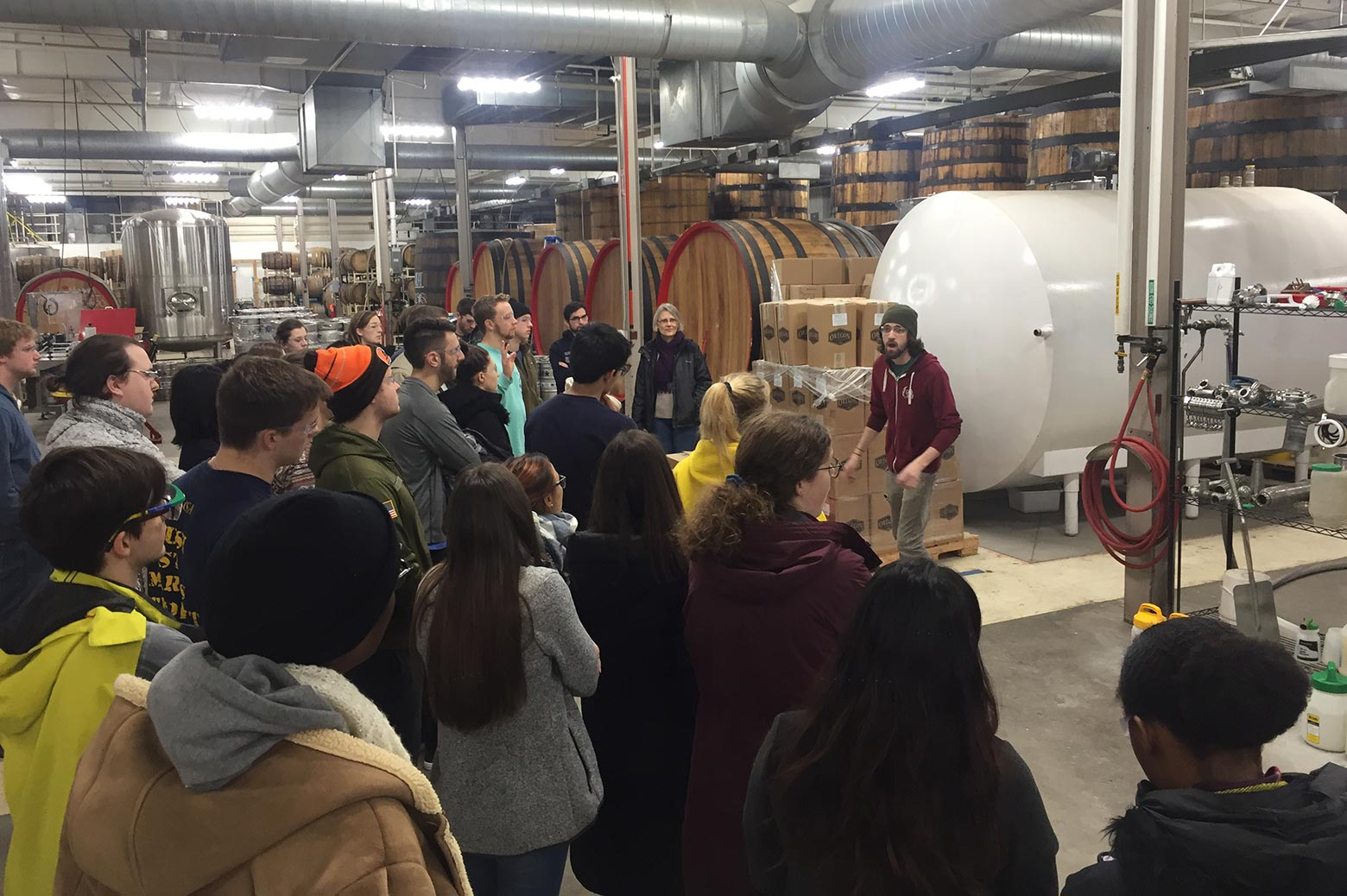 CEE 366 undergraduate visit the Jolly Pumpkin Brewery to learn about wastewater treatment.