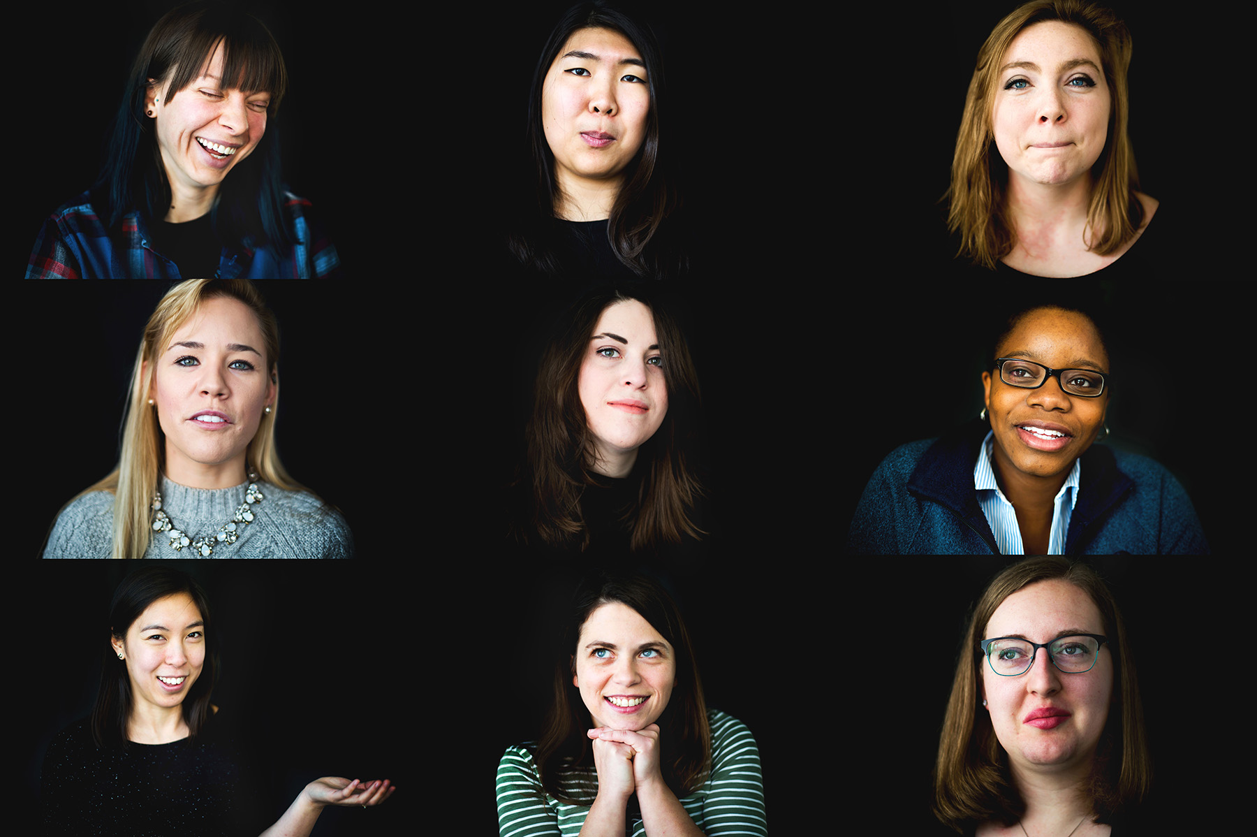 A collection of portraits of female graduate students.