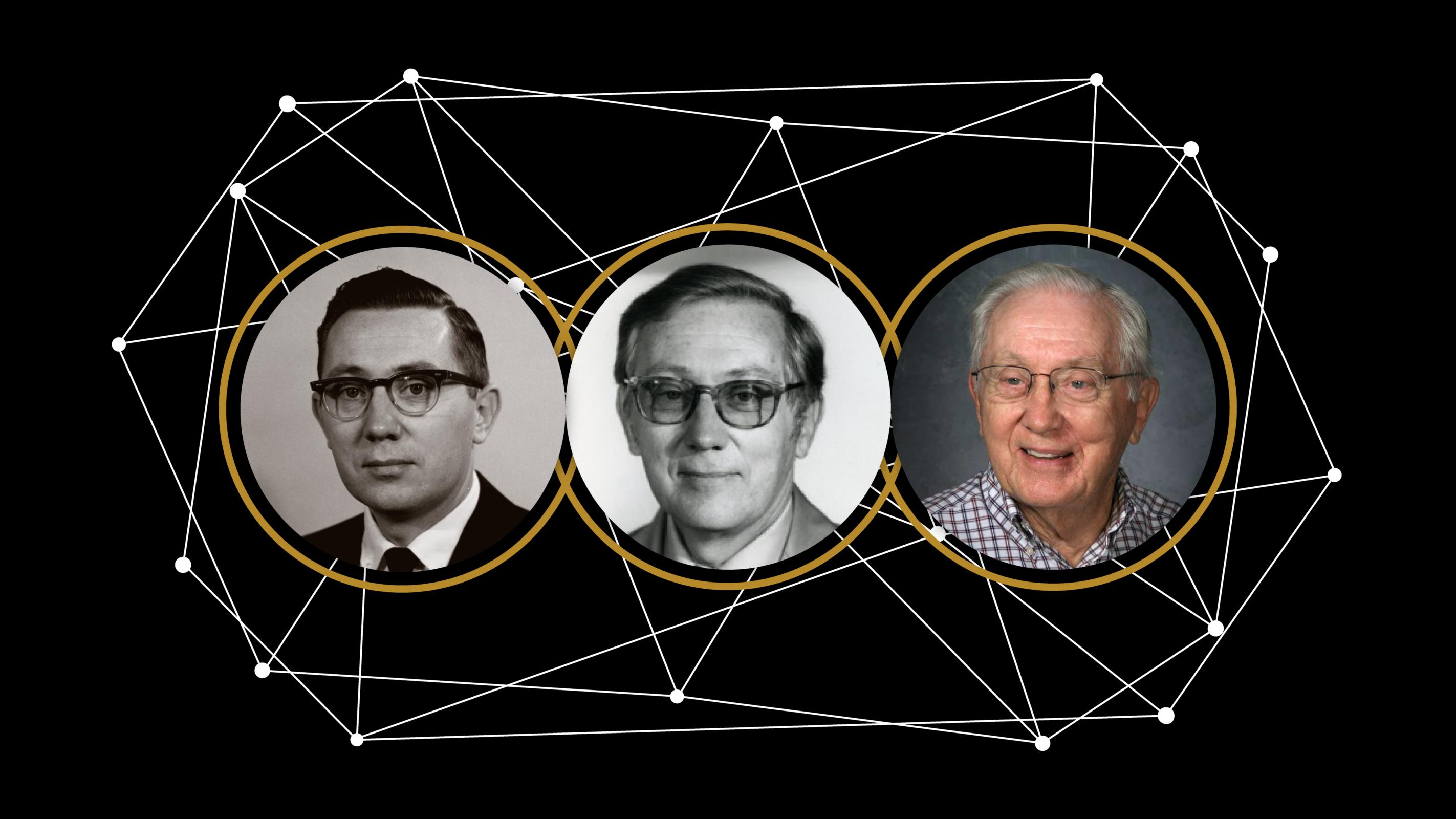 Three portrait photos of Walt Hancock through the years.