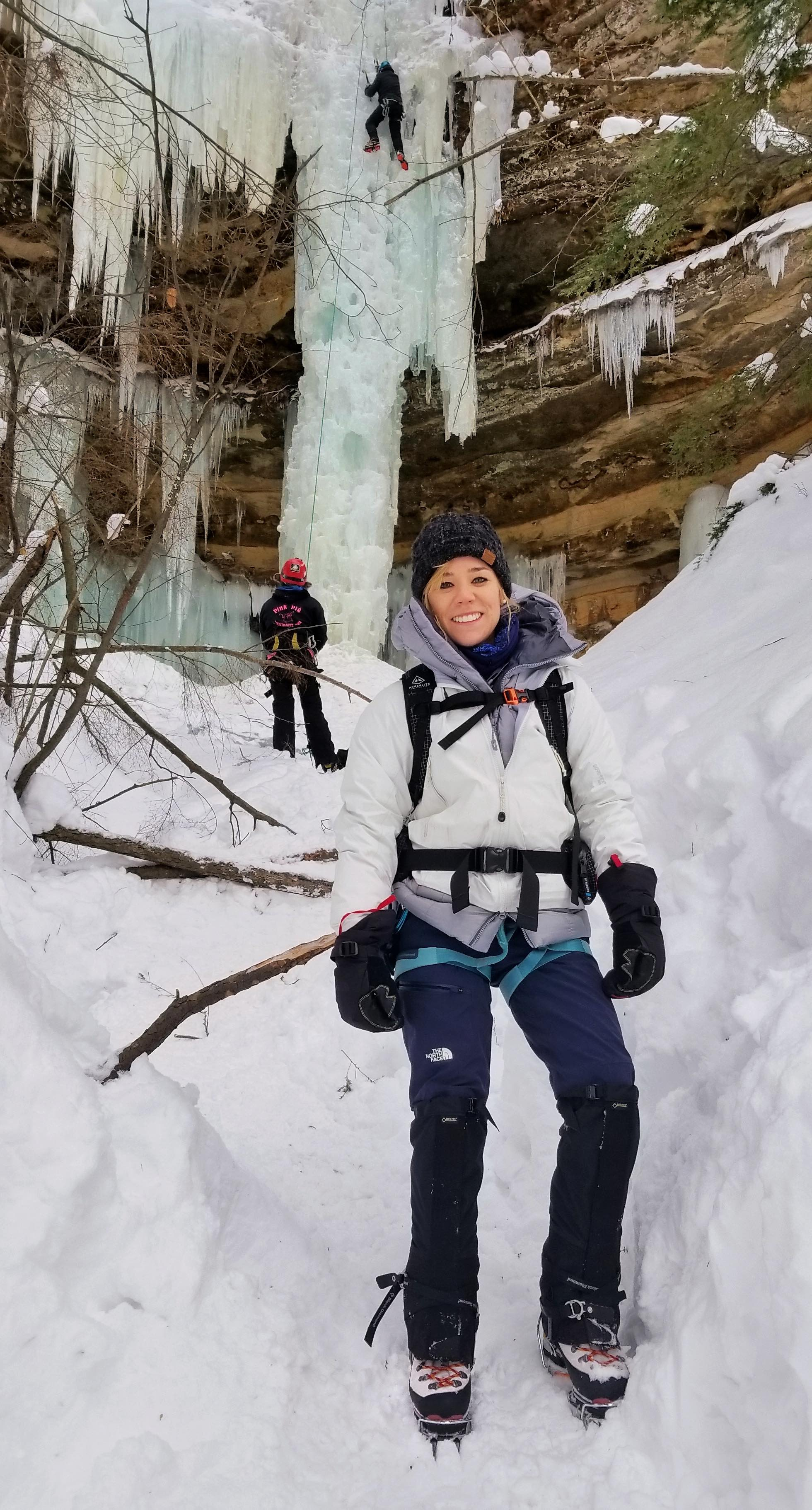 Laura Andre ice climbing
