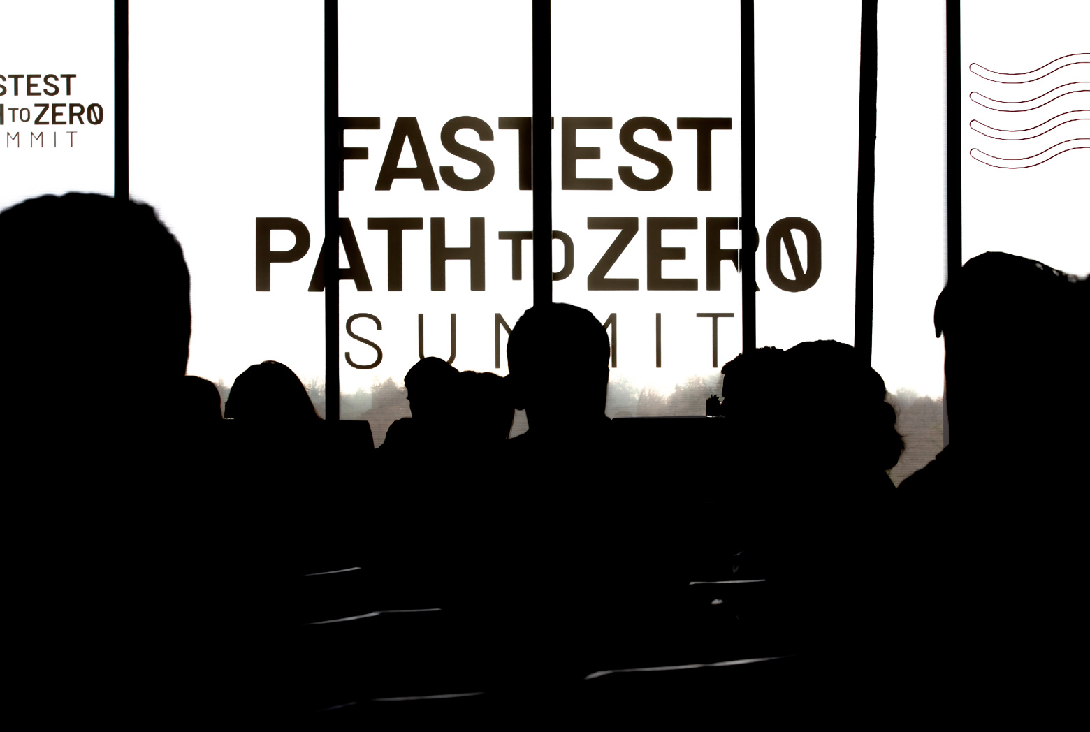 Silhouettes of people against a light background reading Fastest Path to Zero Summit