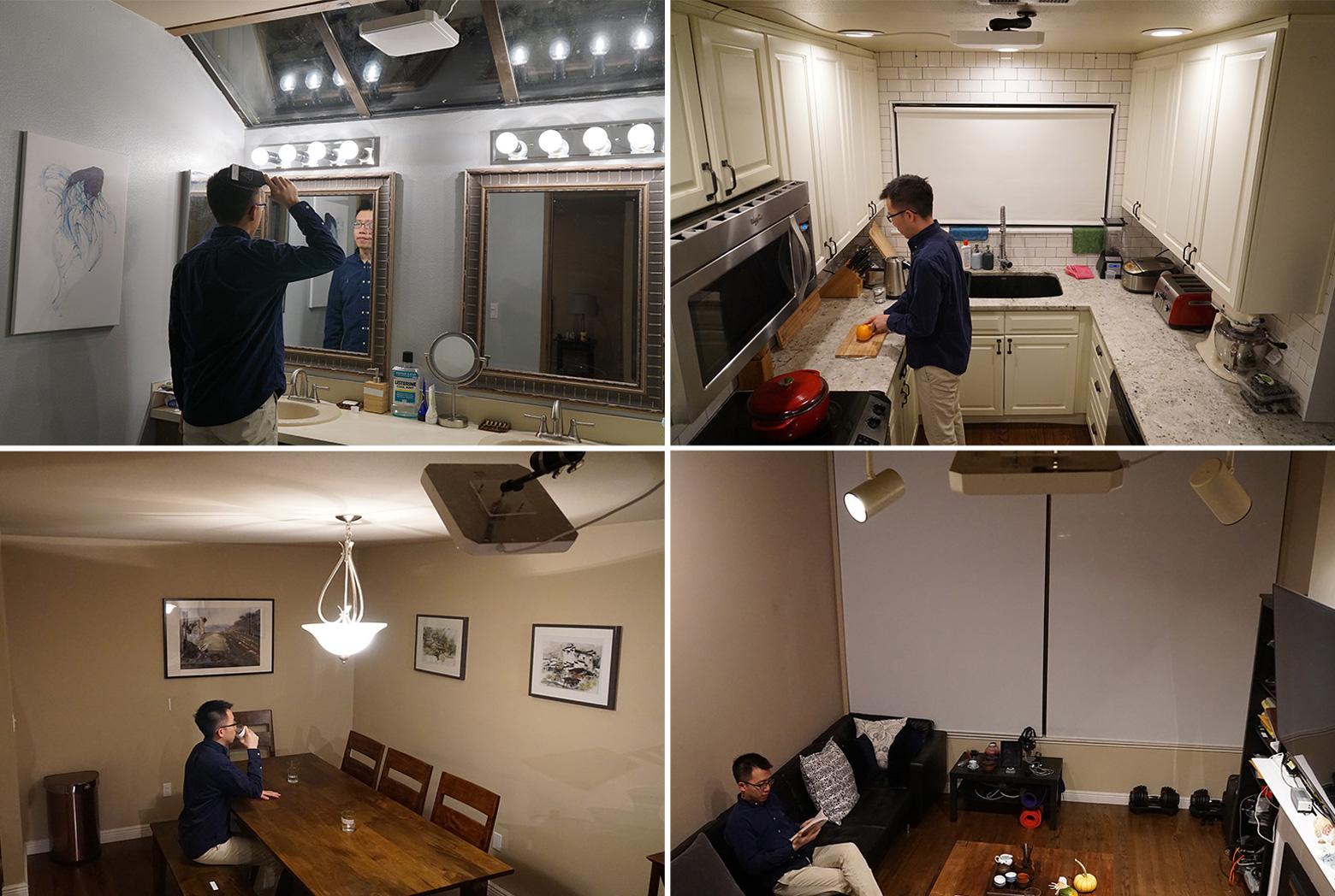 4 photos of a man doing tasks inside an apartment