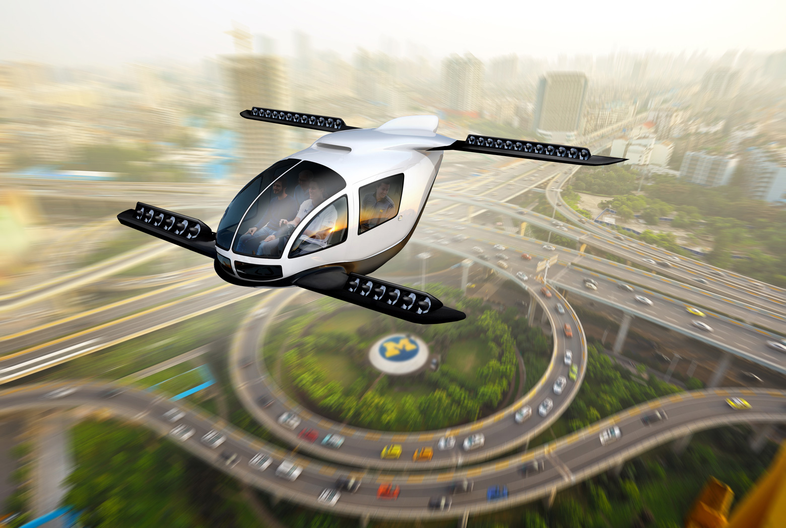 Artistic rendering of an electric vertical takeoff and landing taxi cruising through an urban center. Image credit: Dave Brenner/University of Michigan School for Environment and Sustainability.