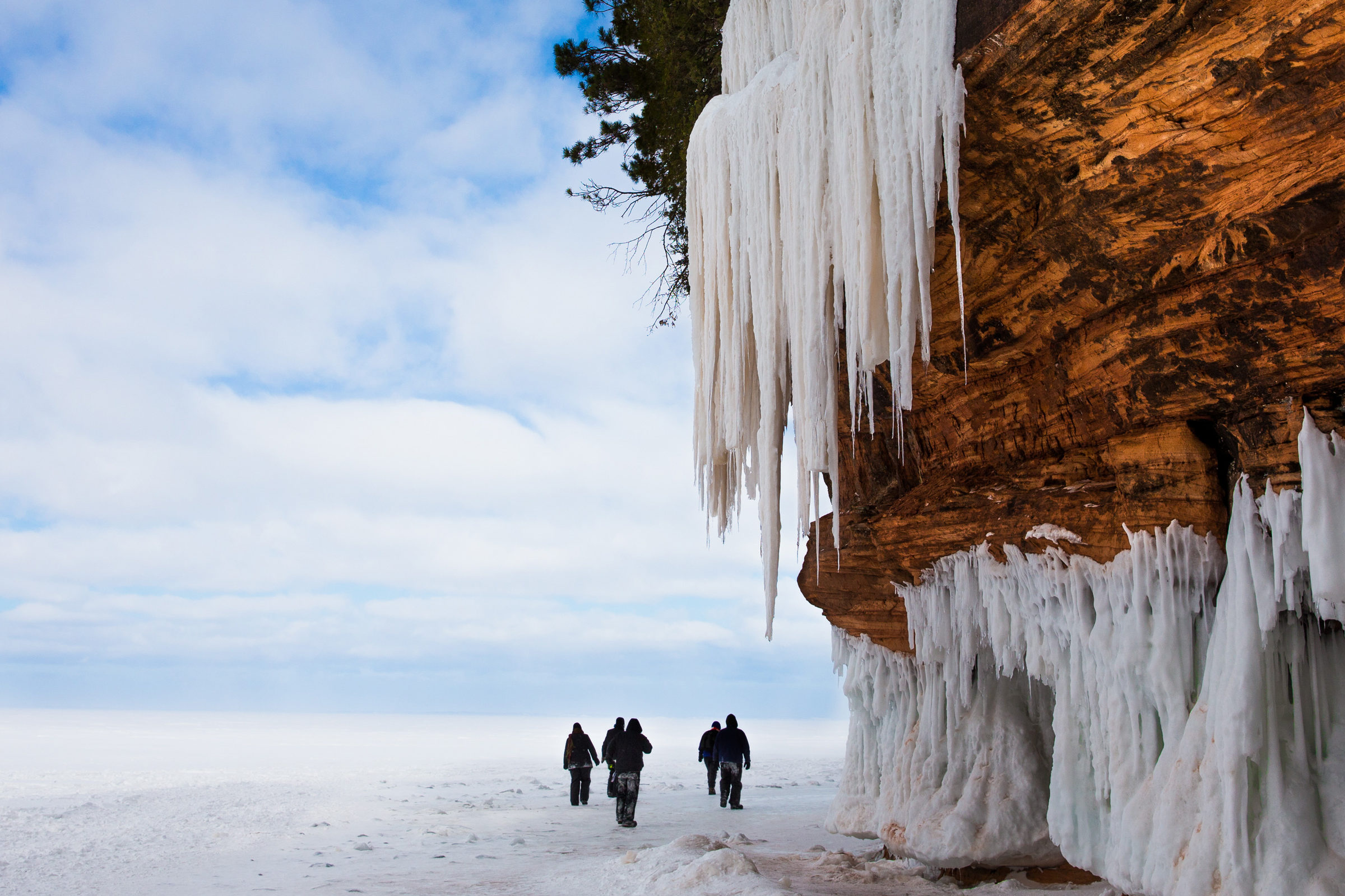 People walking outside ice caves. Photo: Getty Images