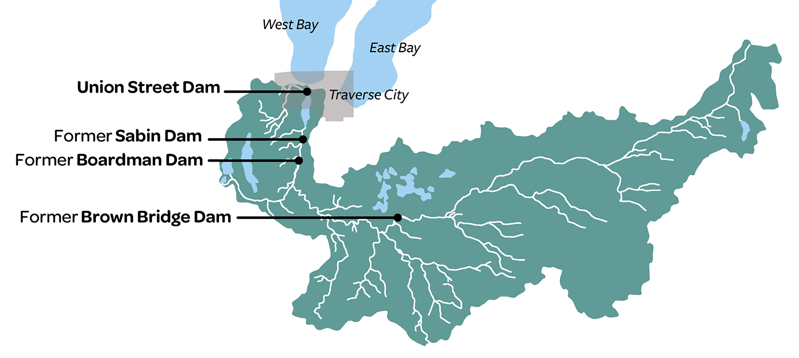 Map of dam restoration sites on Boardman River