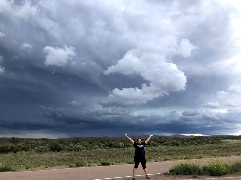Dr. Annareli Morales and storm during Argentina field research.