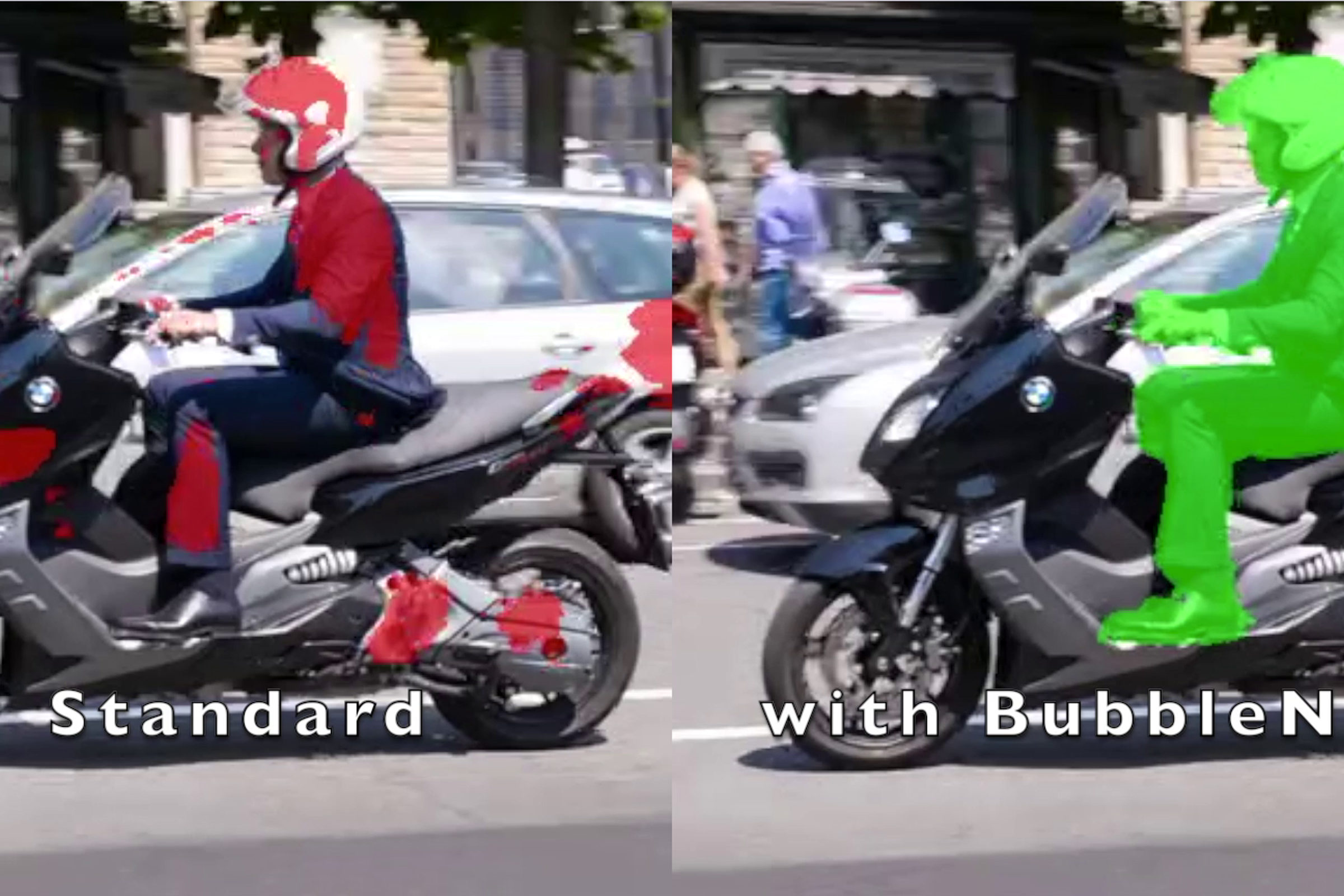 Two images side by side of a motorcycle rider. On the right side version the rider is highlighted in green.