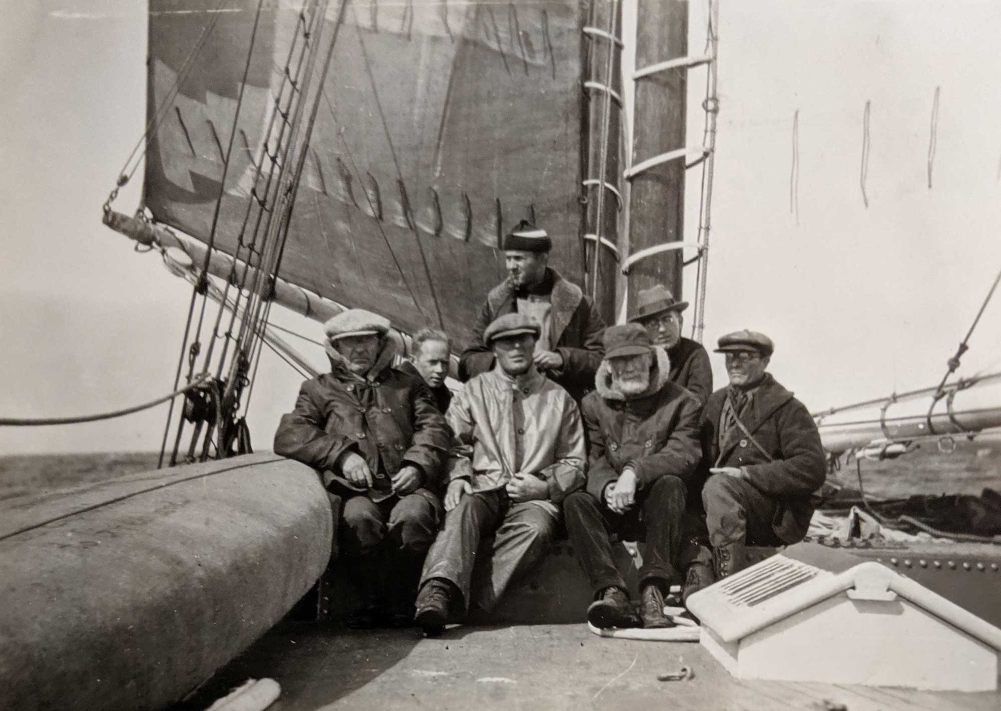 "Prof. Hobbs and crew aboard the ship ""Morrissey"" en route to Greenland, 1926."