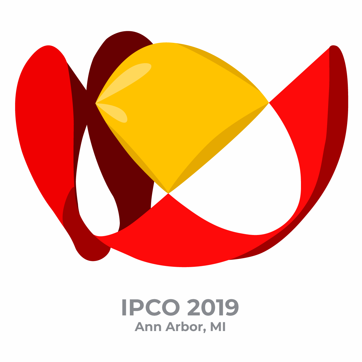 IPCO 2019 text paired with 3D mathematical graphic