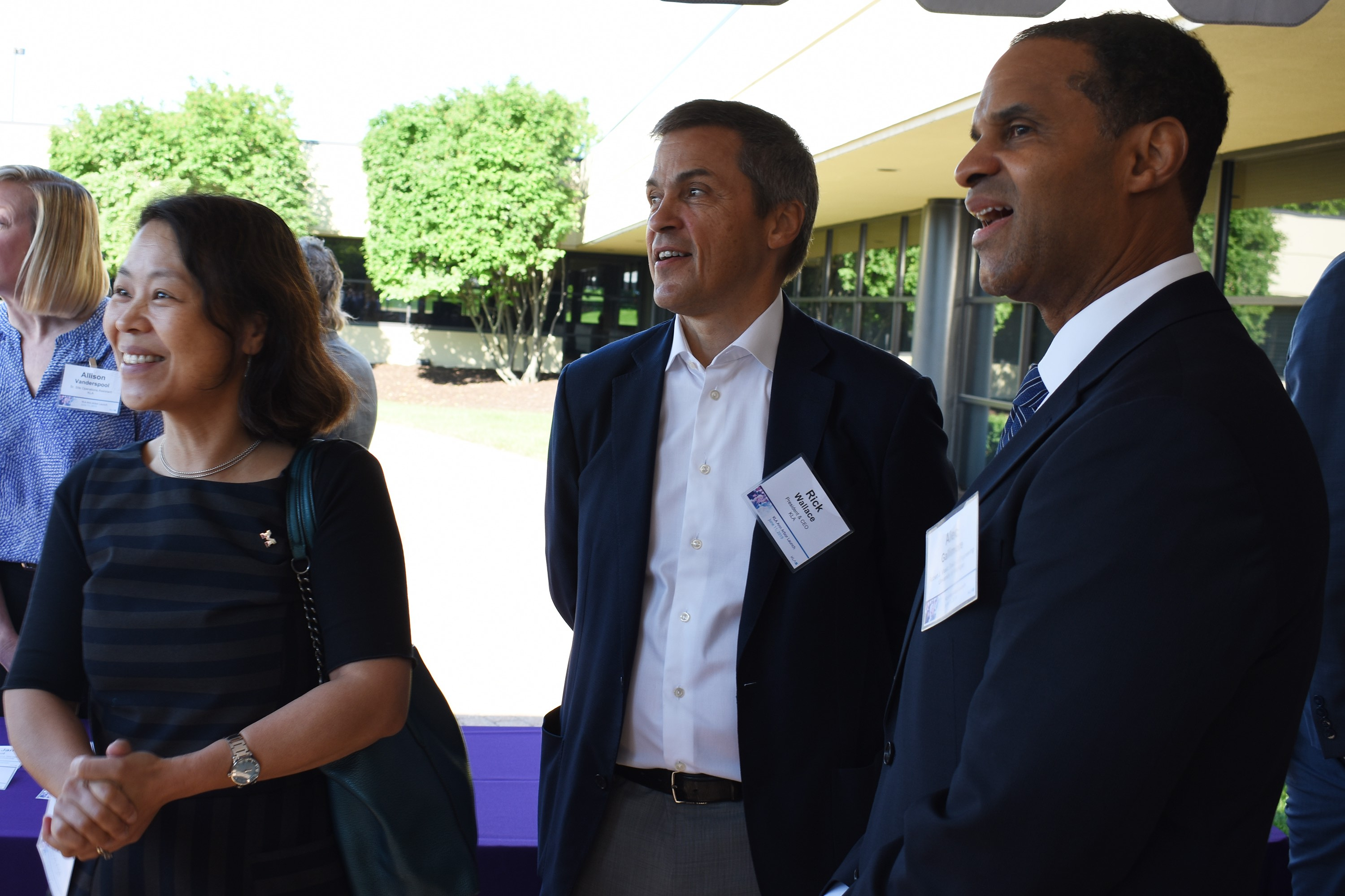 From left: Mingyan Liu (the Peter and Evelyn Fuss Chair of ECE), Rick Wallace (KLA CEO and President), and Alec Gallimore (the Robert J Vlasic Dean of Engineering)