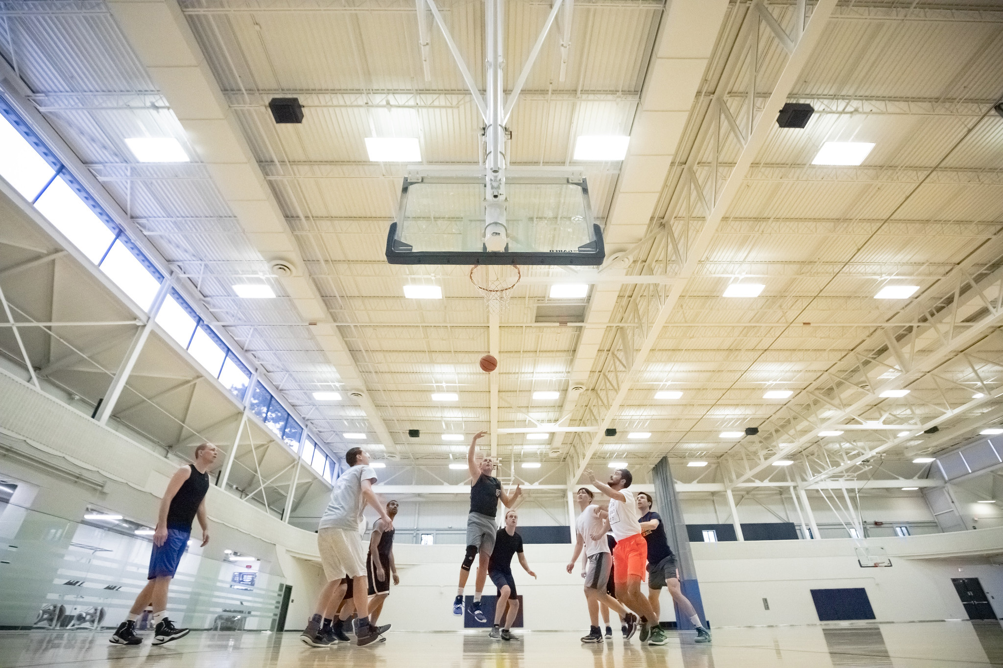 A photograph of biomedical engineering researchers playing basketball.