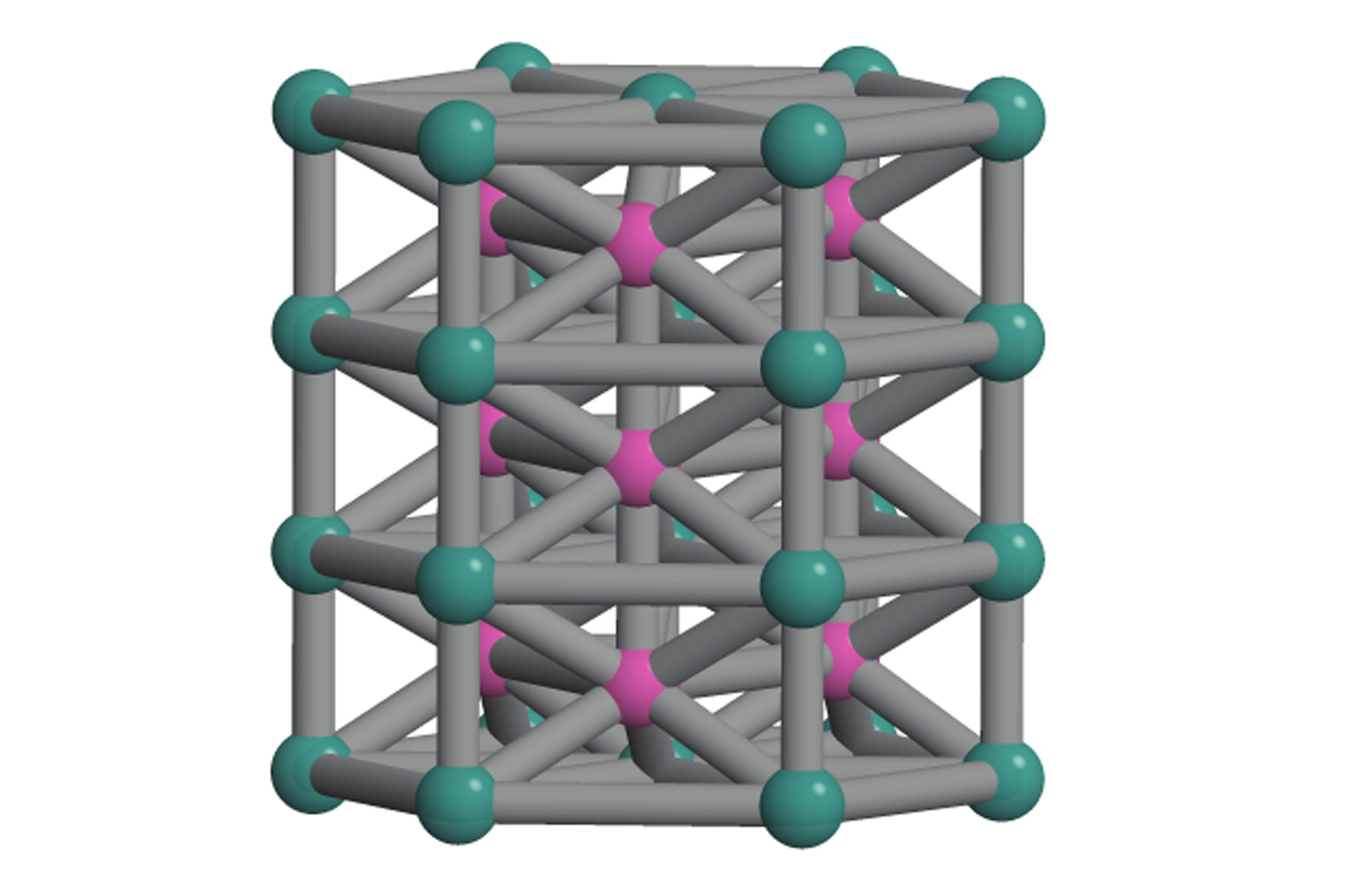 "A diagram of the crystal structure invented to test the new ""inverse design"" computer program."