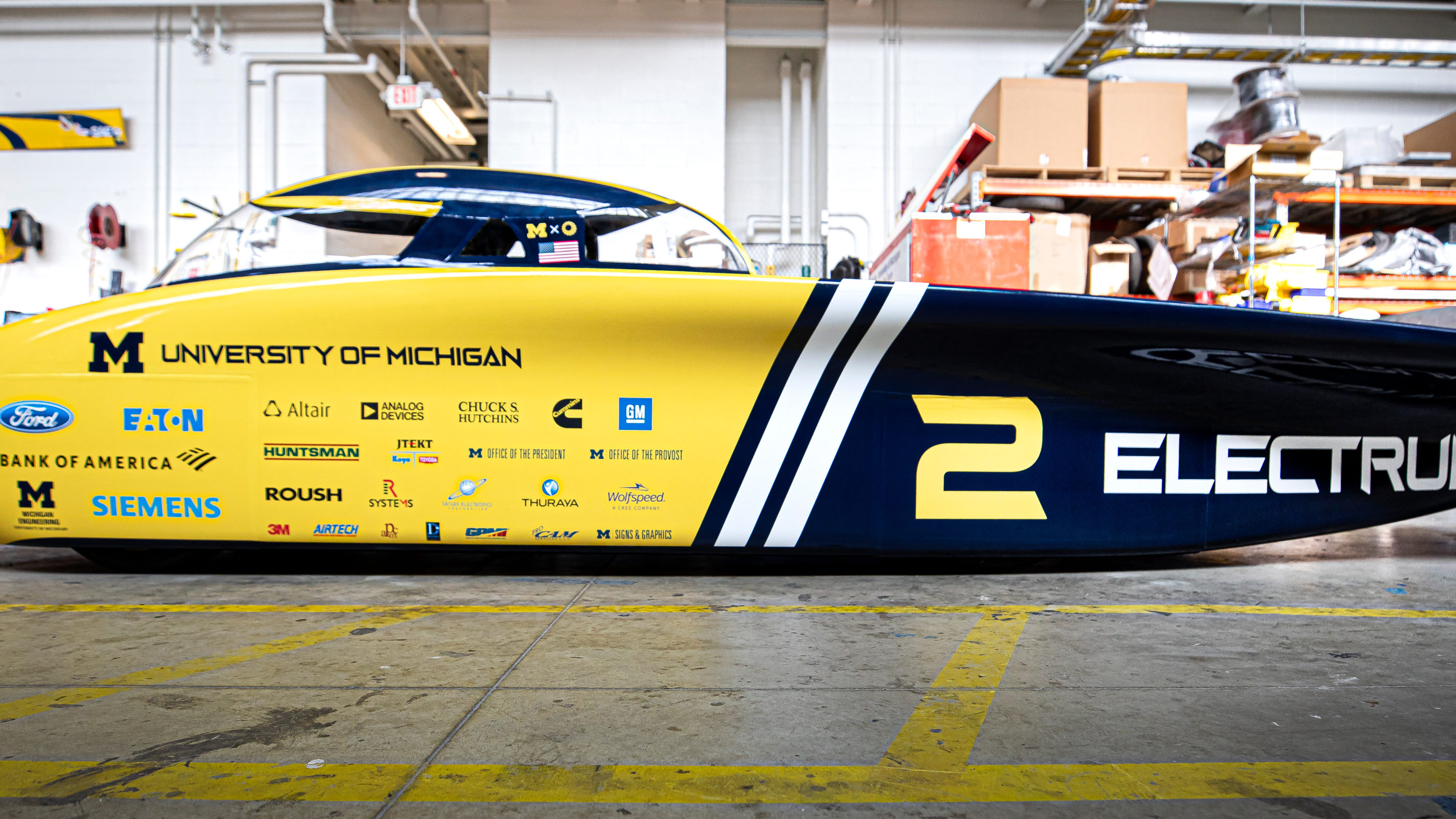 Electrum, the University of Michigan Solar Car Team's car that will be competing in the upcoming 2019 World Solar Challenge this fall. Photo: Joseph Xu/Michigan Engineering