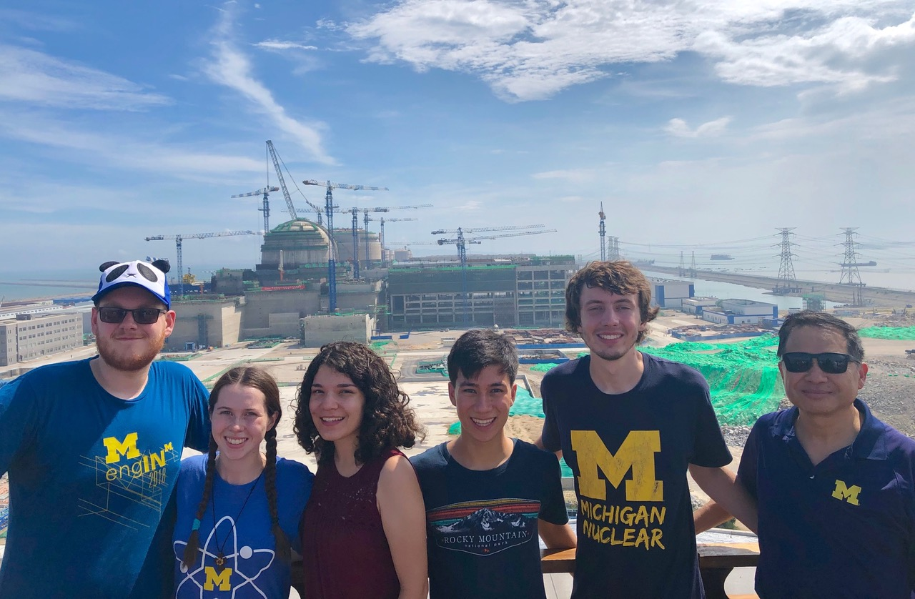 Professor Lumin Wang with 5 NERS students at Daya Bay nuclear power station. Students from the left are Grant Young, Kaitlyn Barr, Tessa Maurer, Braden Saltus and Leo Tunkle.
