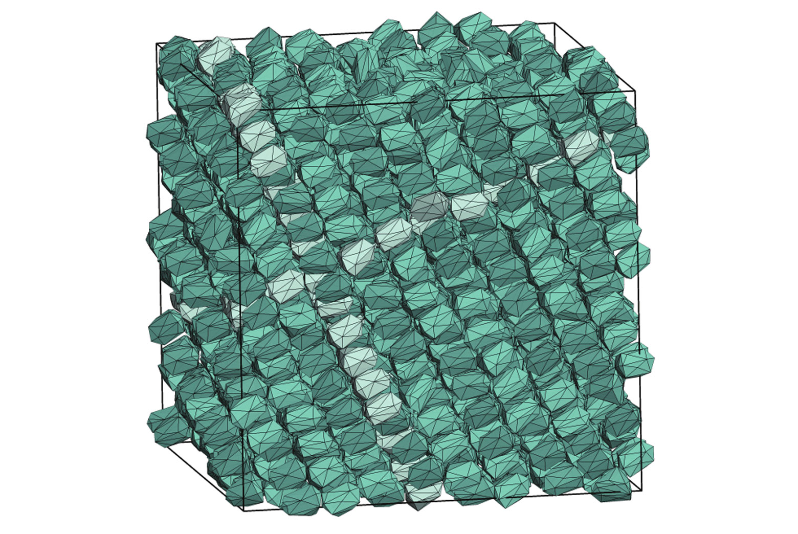 "Inside the boundaries of the simulation, a particle shape designed by a computer program creates a new kind of crystal—a variation on what is known as ""hexagonal close packed."""