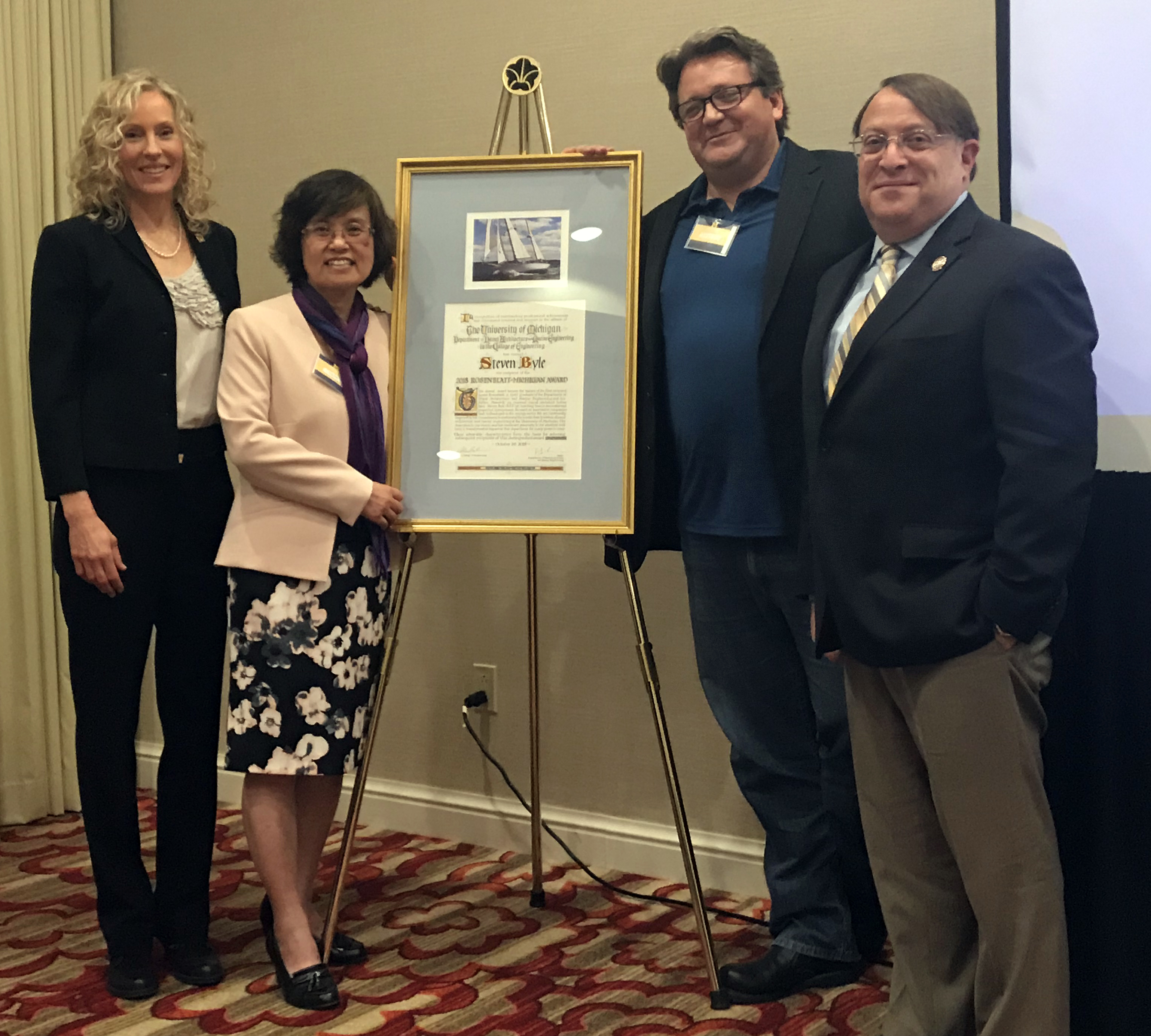 Steven Byle, with Connie Savander, Jing Sun, and Bruce Rosenblatt, receiving the Rosenblatt Award at the SNAME Annual Meeting in 2018
