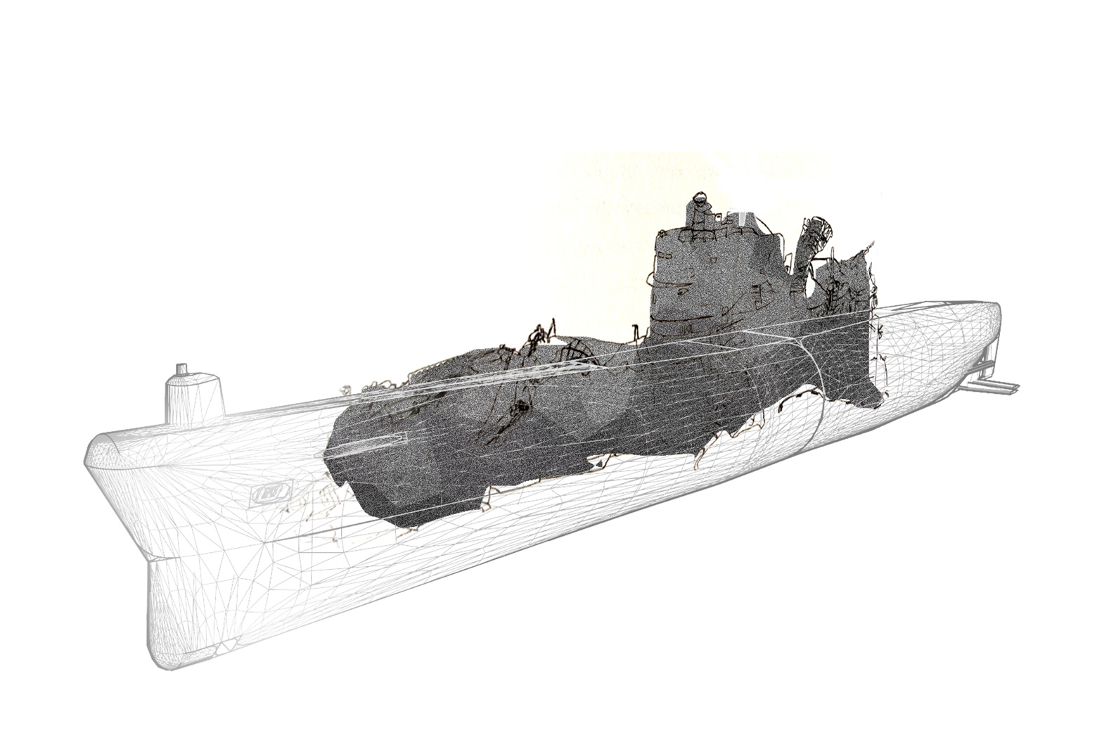 Artist's rendering of the wreck of the K-129