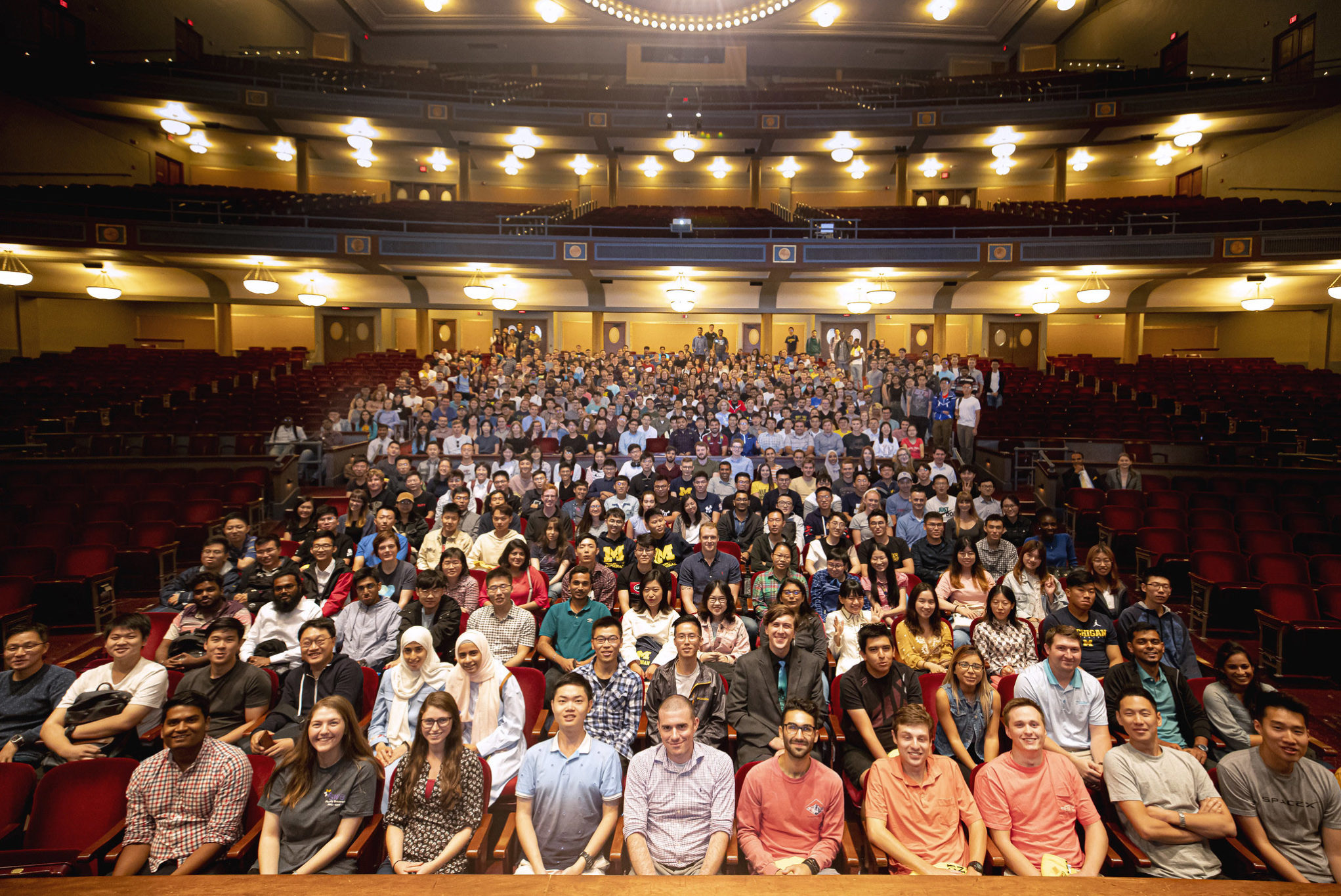The next generation of Michigan Engineering graduate students gathered for a group portrait inside of Hill Auditorium to start off the new semester and the next few years of their lives together.