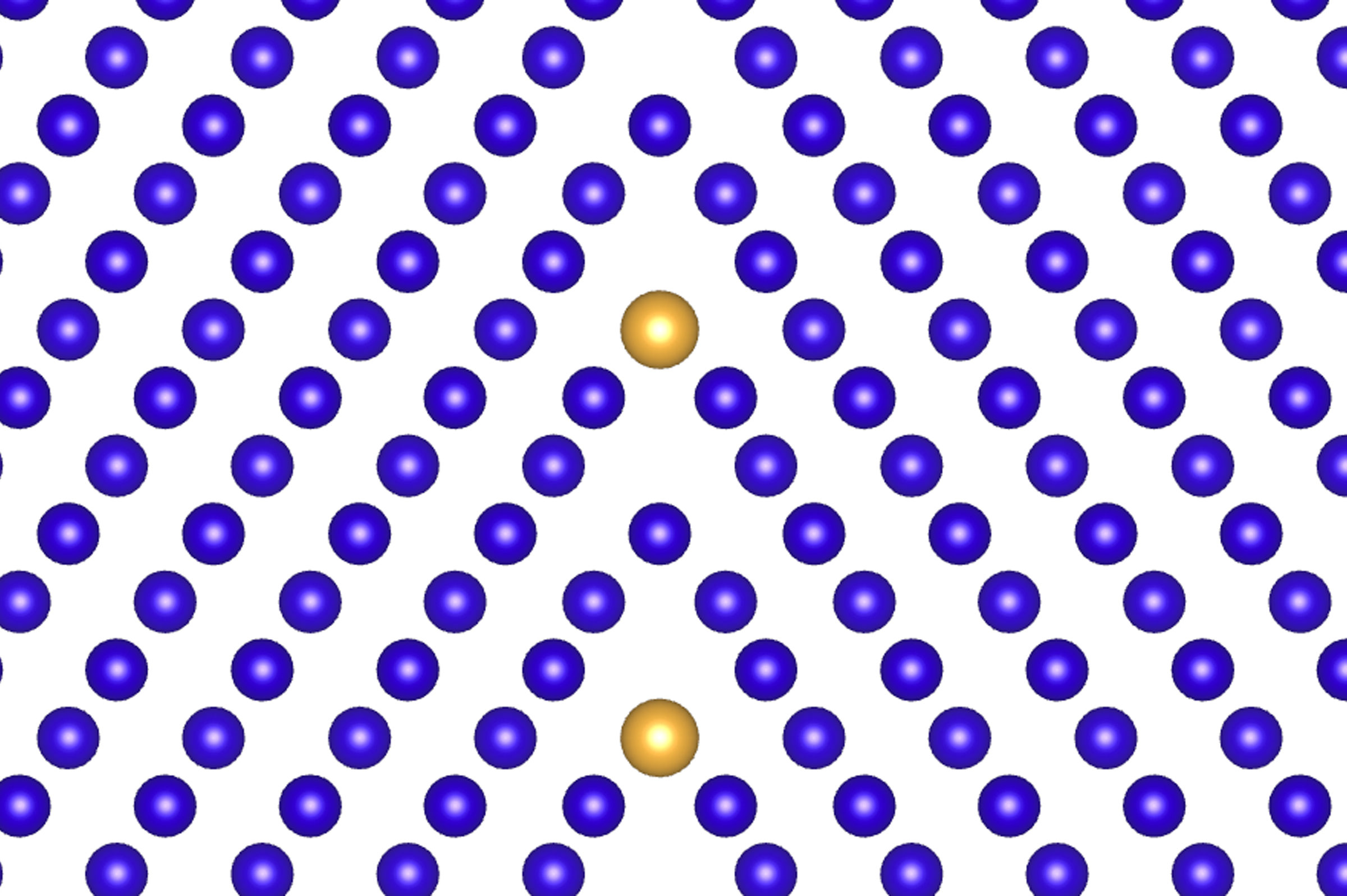 "Two iterations of a metal lattice meet at a ""grain boundary"" defect, with atoms of an alloying element fitting into the defect. Illustration by Liang Qi, Computational Materials Science Group, University of Michigan"