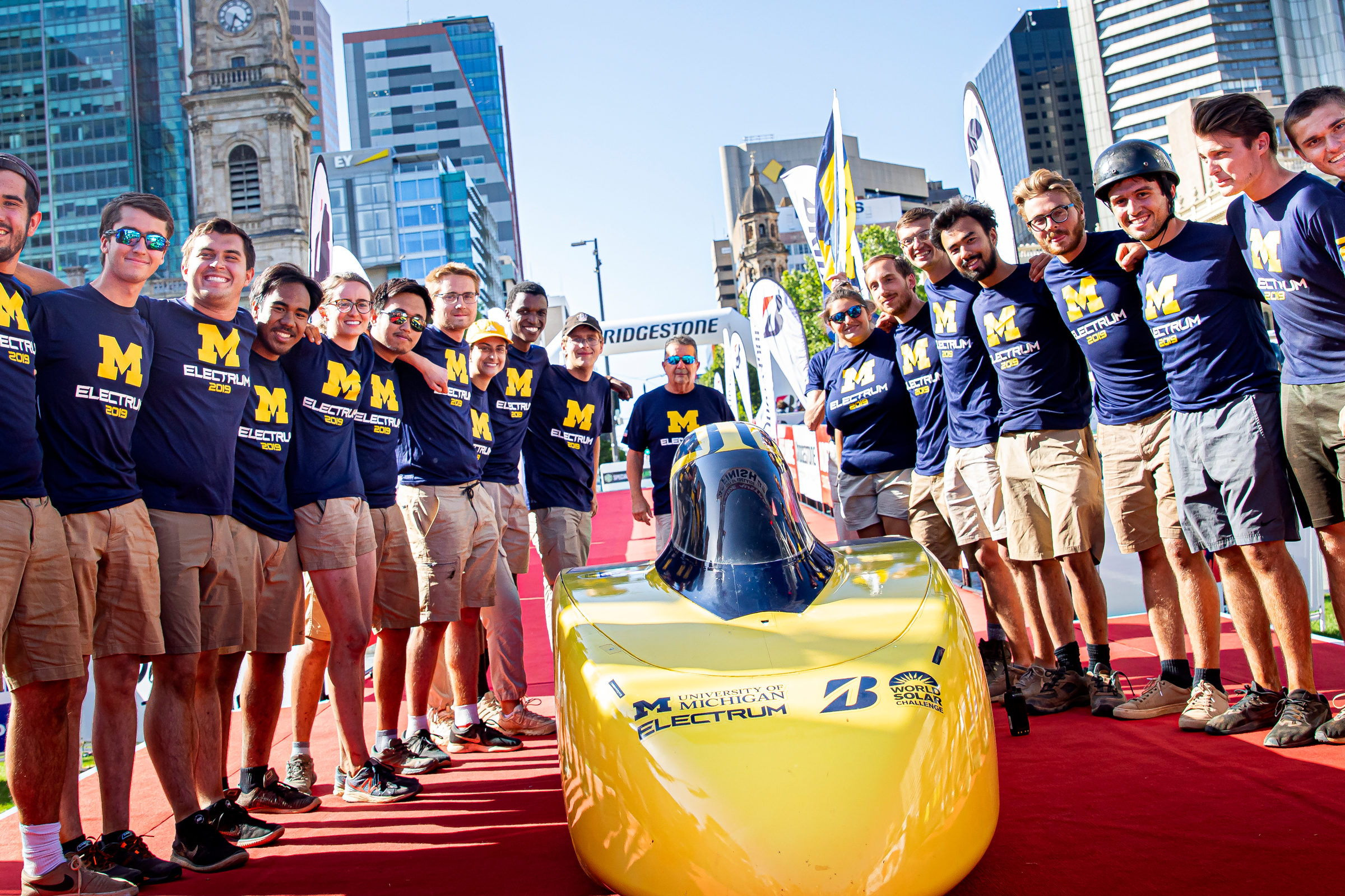 The U-M solar car team finished third in the 2019 Bridgestone World Solar Challenge. Photo: Joseph Xu/Michigan Engineering