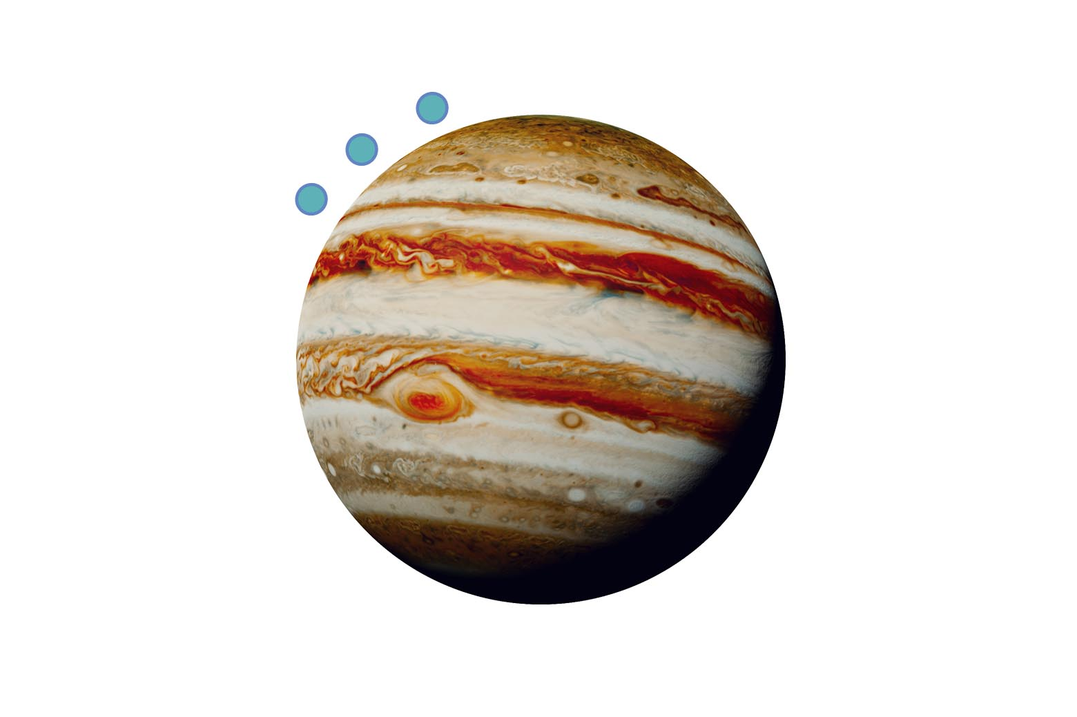 A Jupiter graphic with three blue circles indicating spacecrafts orbiting.