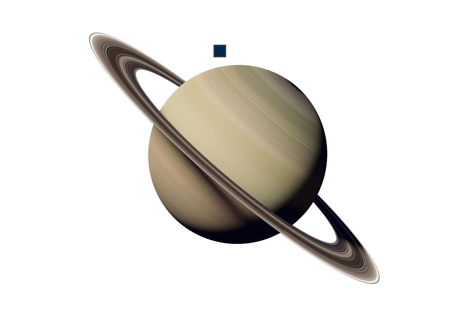 A Saturn graphic with one spacecraft lander orbiting. Graphic by Steve Alvey.