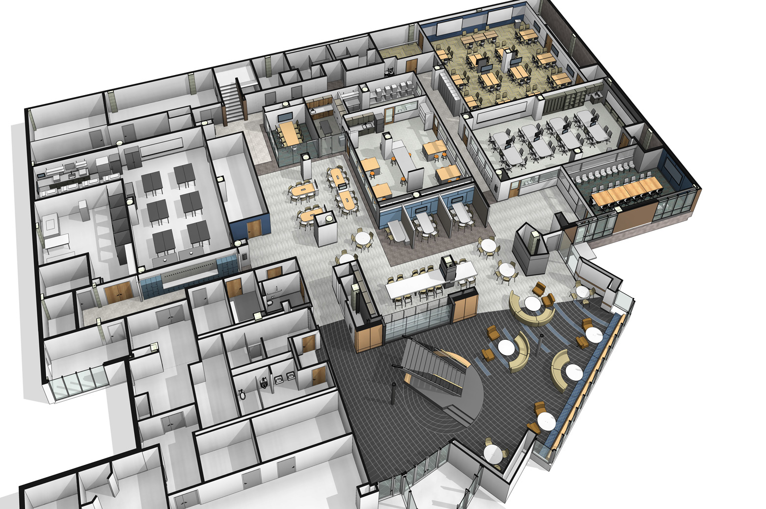 An overhead 3D rendering of the planned design space renovation.