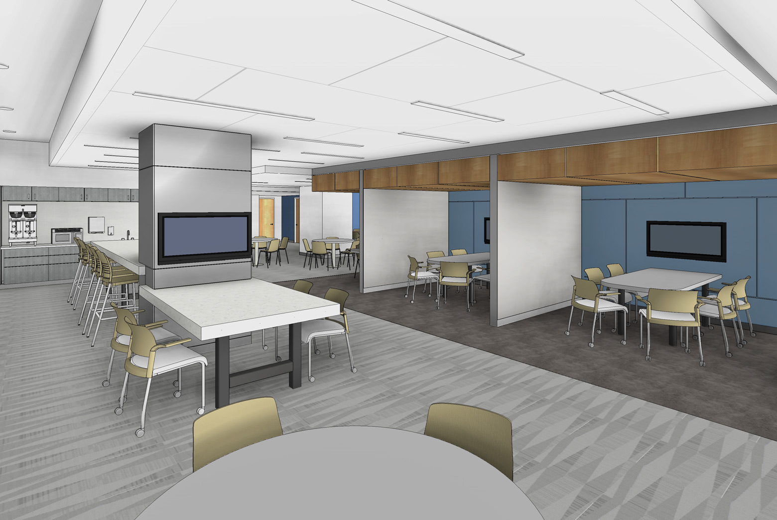 A 3D render showing part of the planned design space renovation